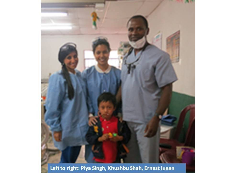 From left, Piya Singh, Khushbu Shah and Ernest Juean at the UIC clinic in Camanchaj.