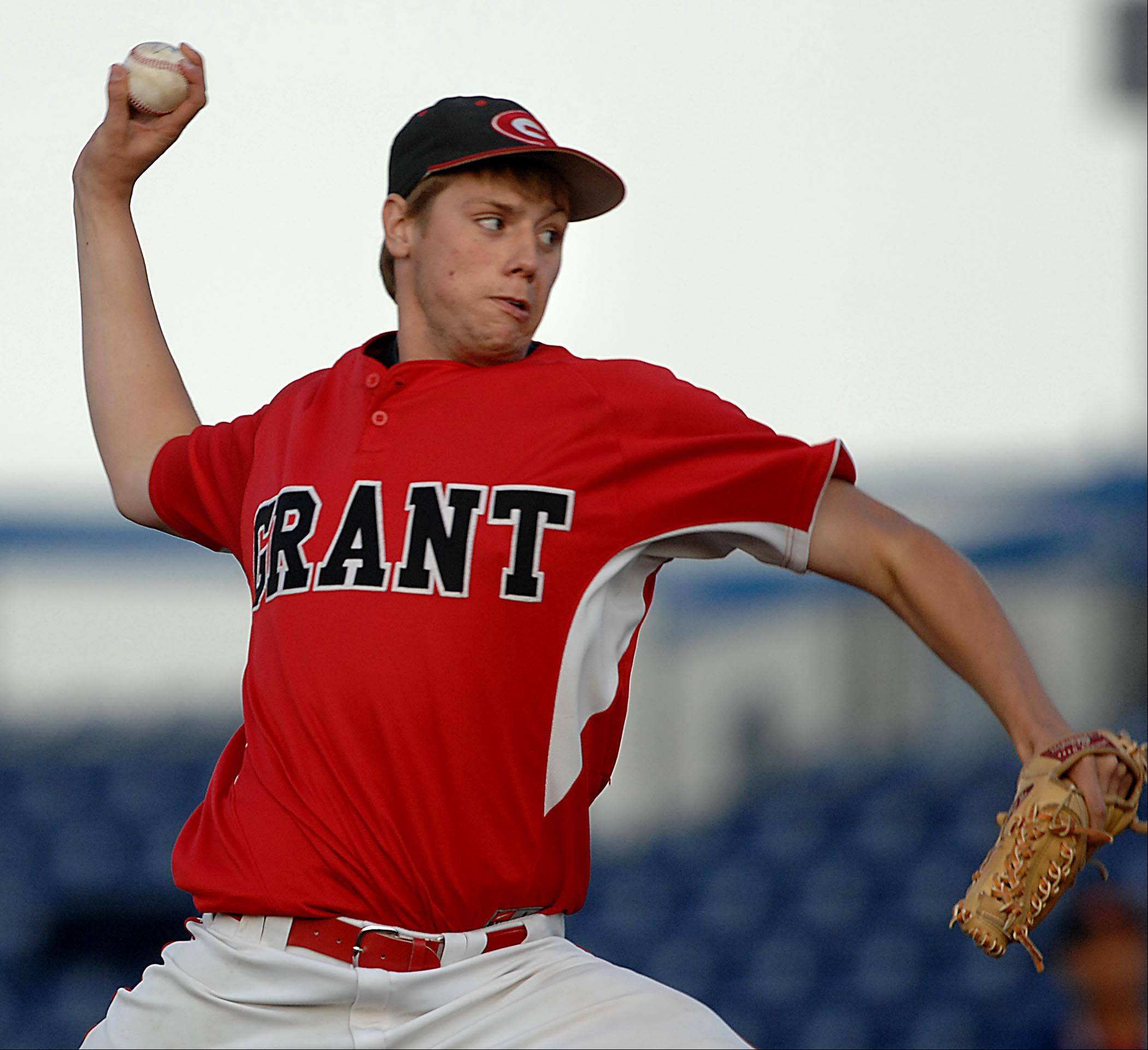 Grant's Jared Helmich works against Schaumburg in the Class 4A Rockford supersectional at Riverhawks Stadium on Monday.