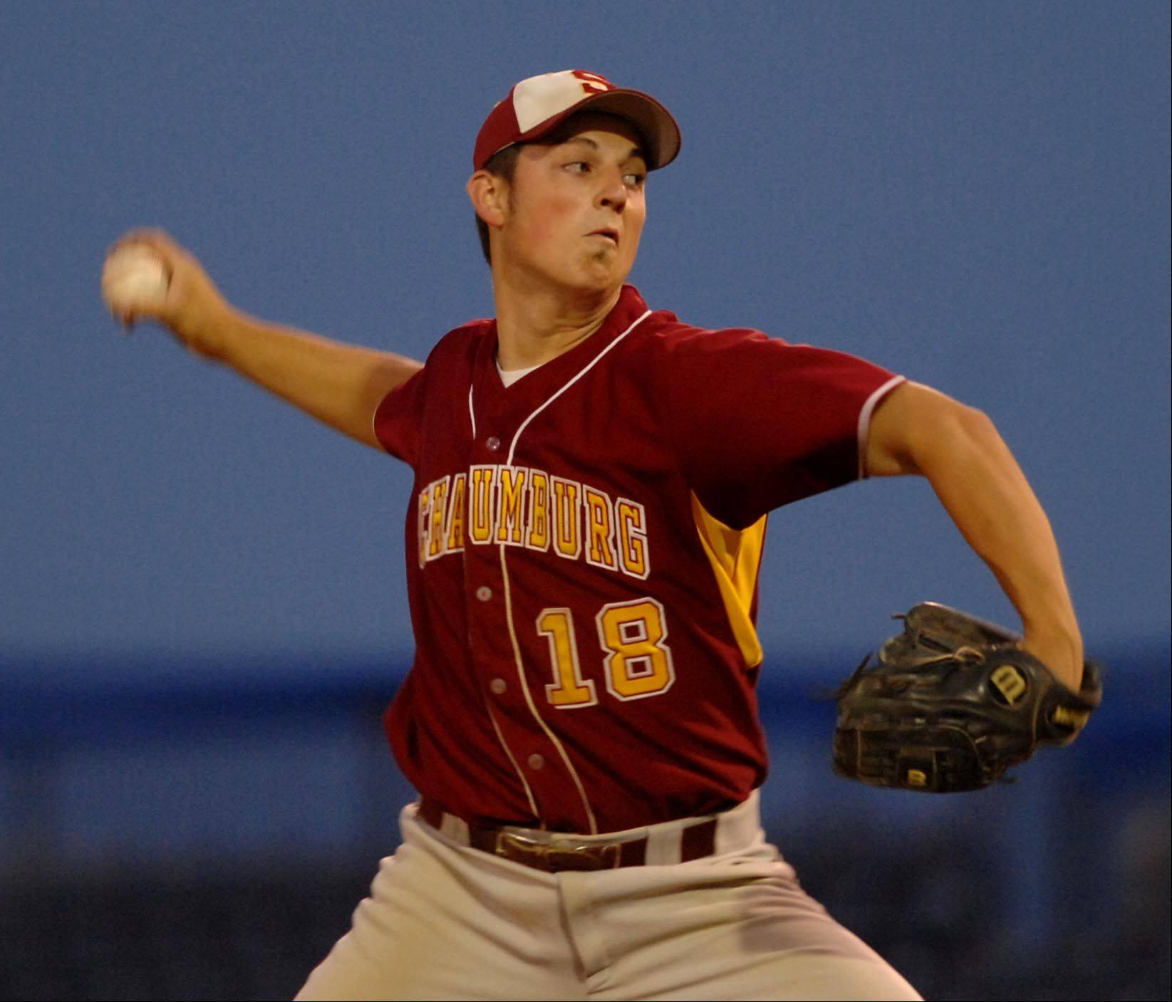 Schaumburg's Matt Brancato pitches in relief against Grant in the Class 4A Rockford supersectional at Riverhawks Stadium on Monday.