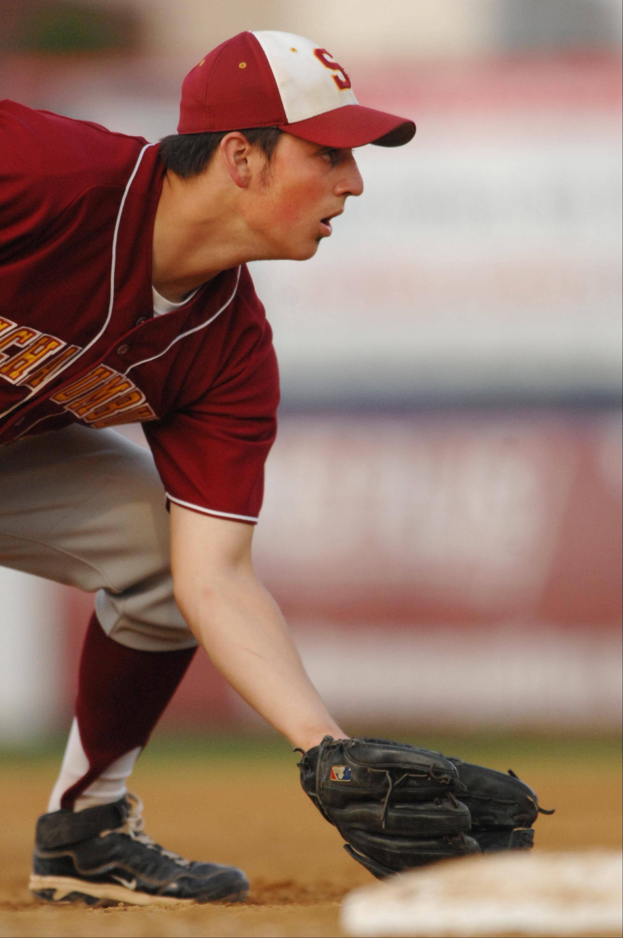 Schaumburg's Matt Brancato performs in the Class 4A Rockford supersectional at Riverhawks Stadium on Monday.