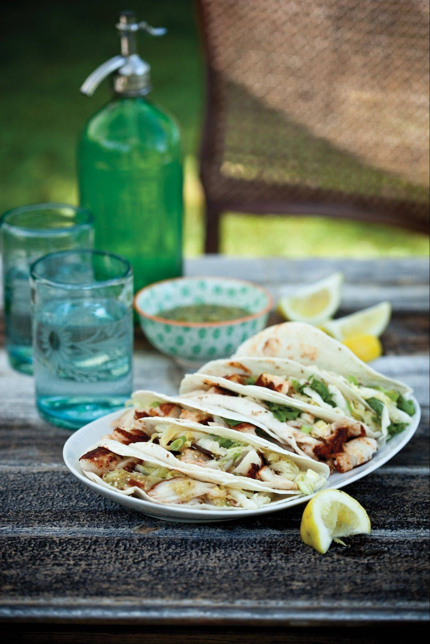 Baja Fish Tacos with Grilled Napa Cabbage Slaw