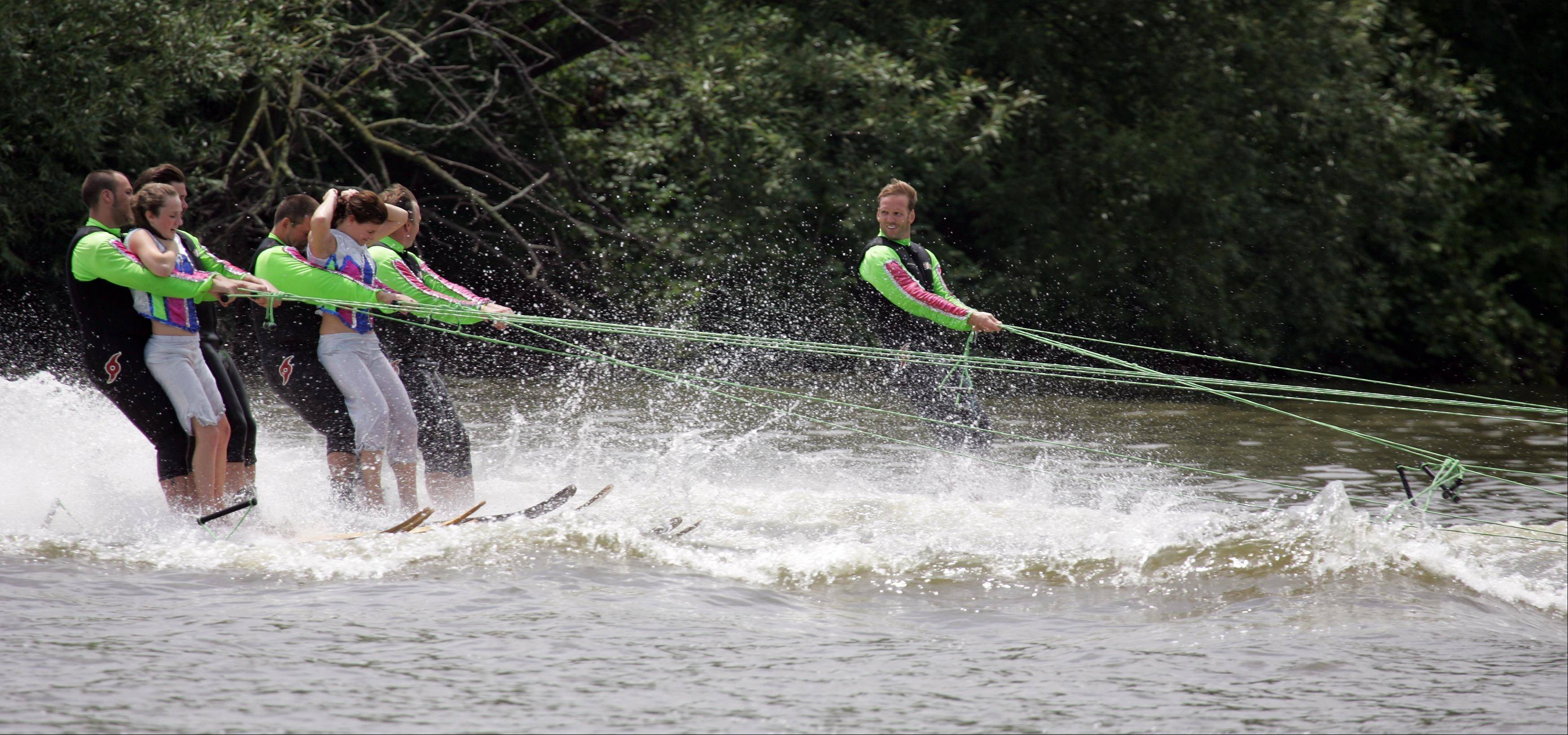 The Wonder Lake Water Ski Show Team performs during the Pride of the Fox RiverFest in St. Charles.