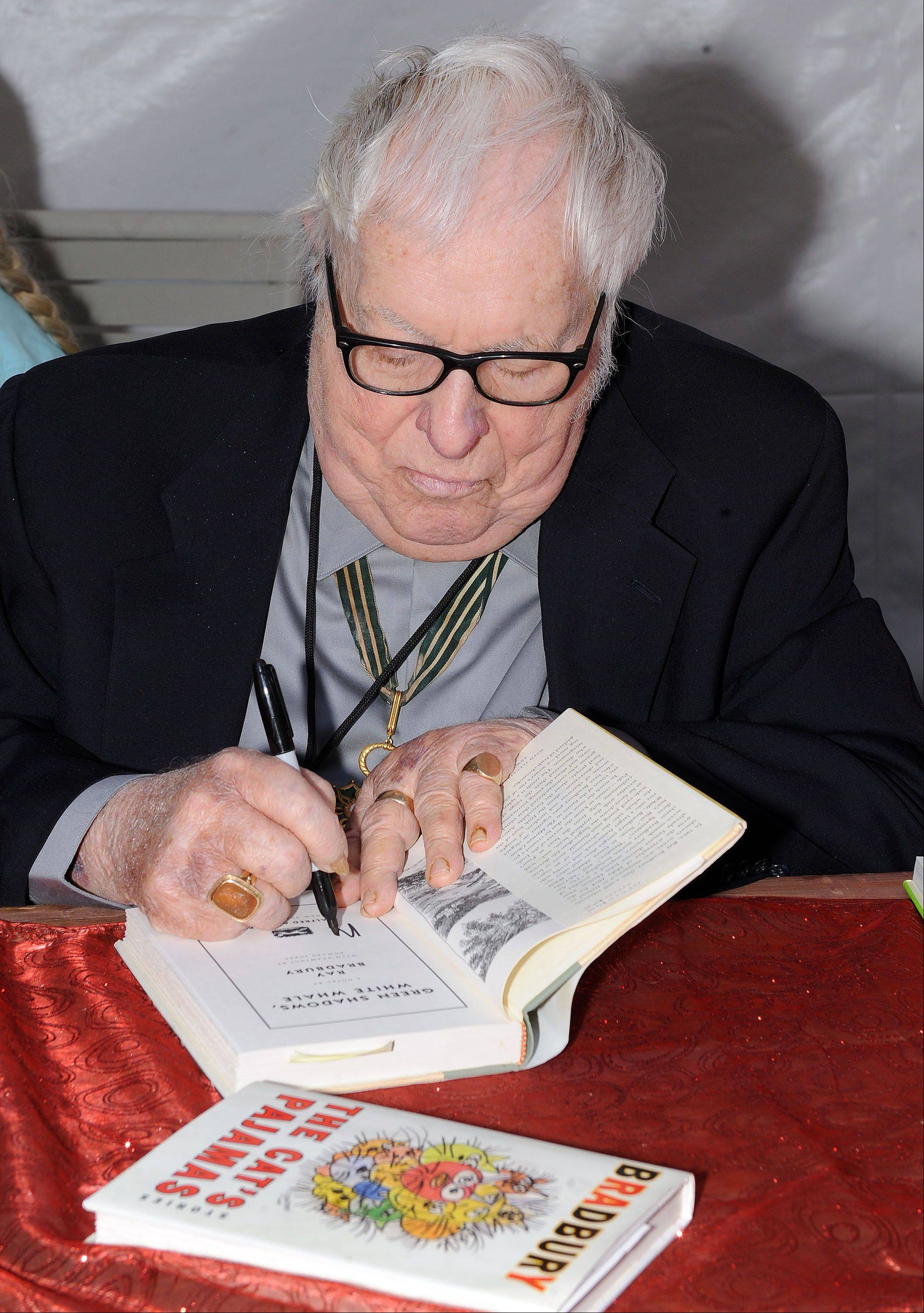 Author Ray Bradbury attends The Los Angeles Times Festival of Books at The University of California Los Angeles Saturday, April 25, 2009, in Los Angeles, Calif.