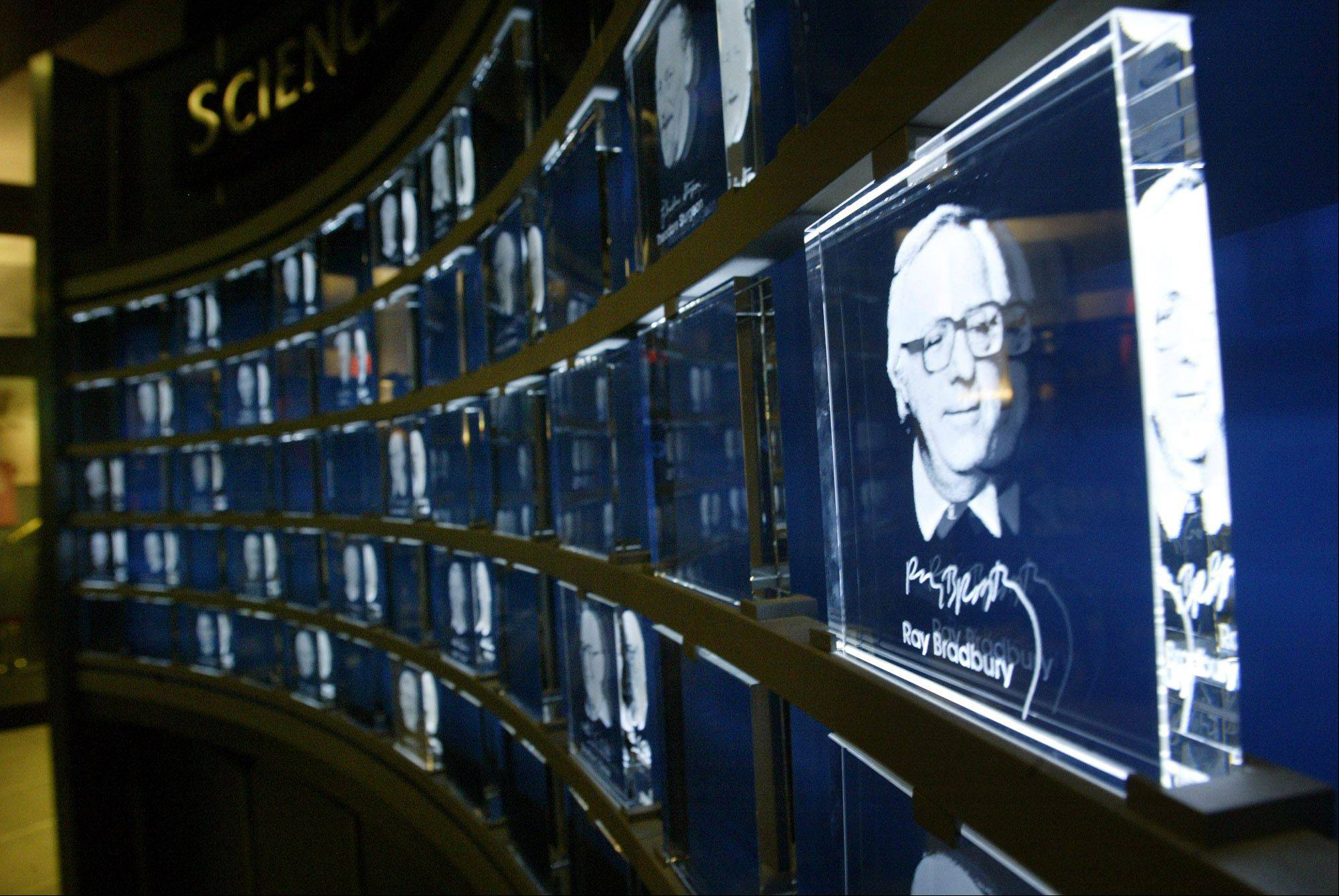 An image of science fiction author Ray Bradbury etched in glass sits on display in the Science Fiction Museum and Hall of Fame, Tuesday, June 8, 2004, in Seattle. The museum, created with $20 million from Microsoft co-founder Paul Allen, opens June 18.