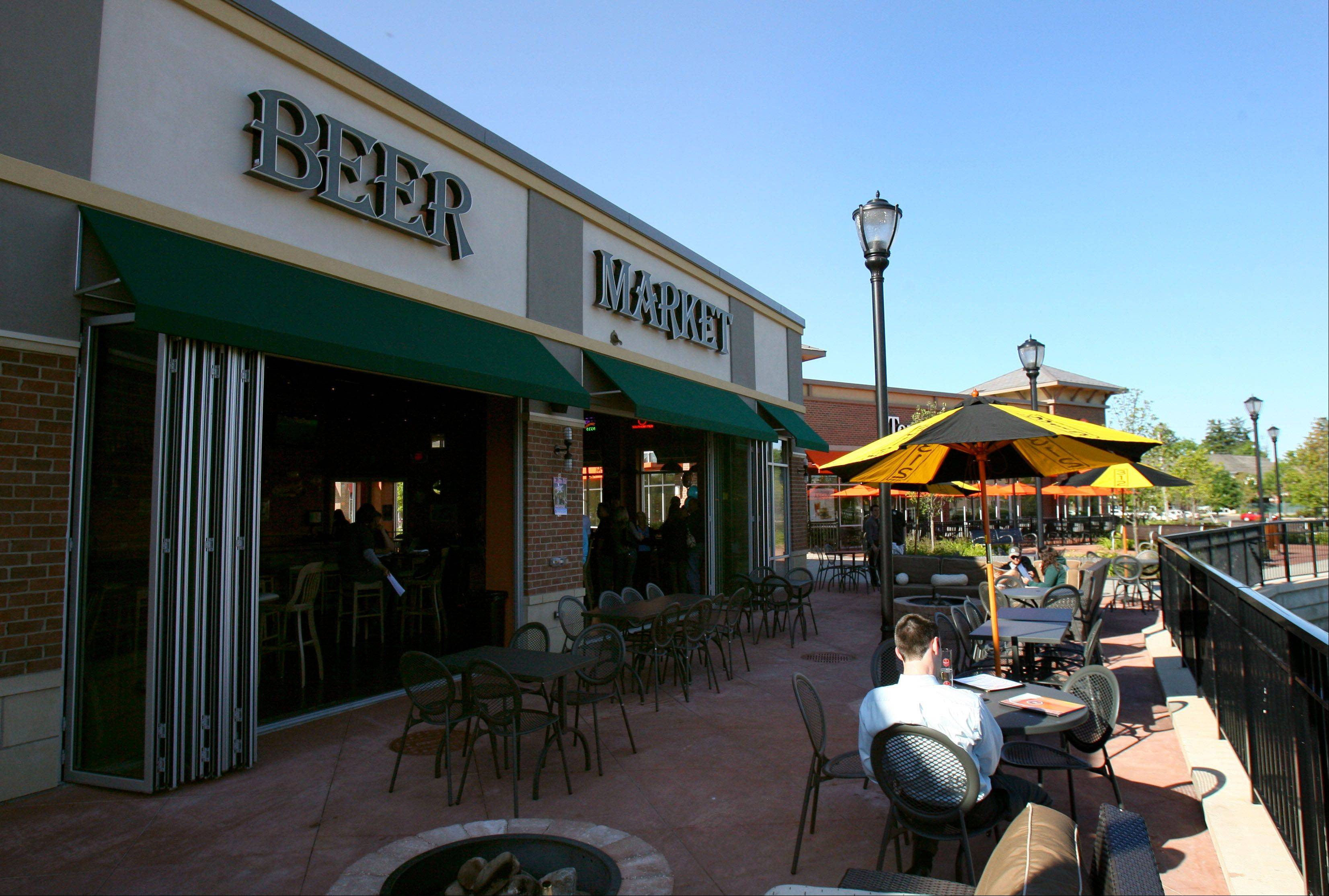 The patio area proves a nice place to enjoy your favorite brews at the Beer Market in Vernon Hills.