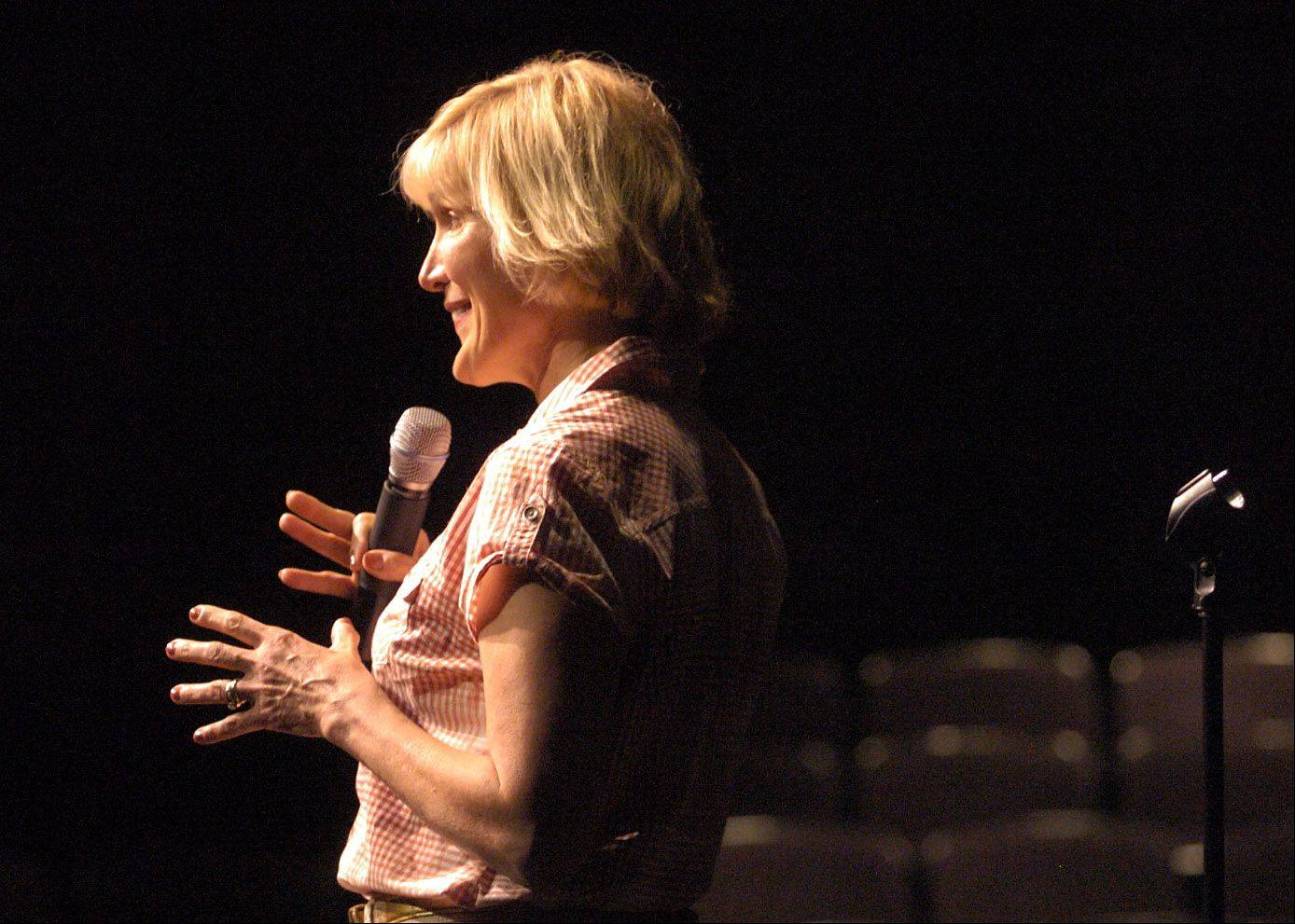 Comedian Sally Edwards of Wauconda auditions in front of the judges for Suburban Chicago's Got Talent at the Metropolis Performing Arts Centre.