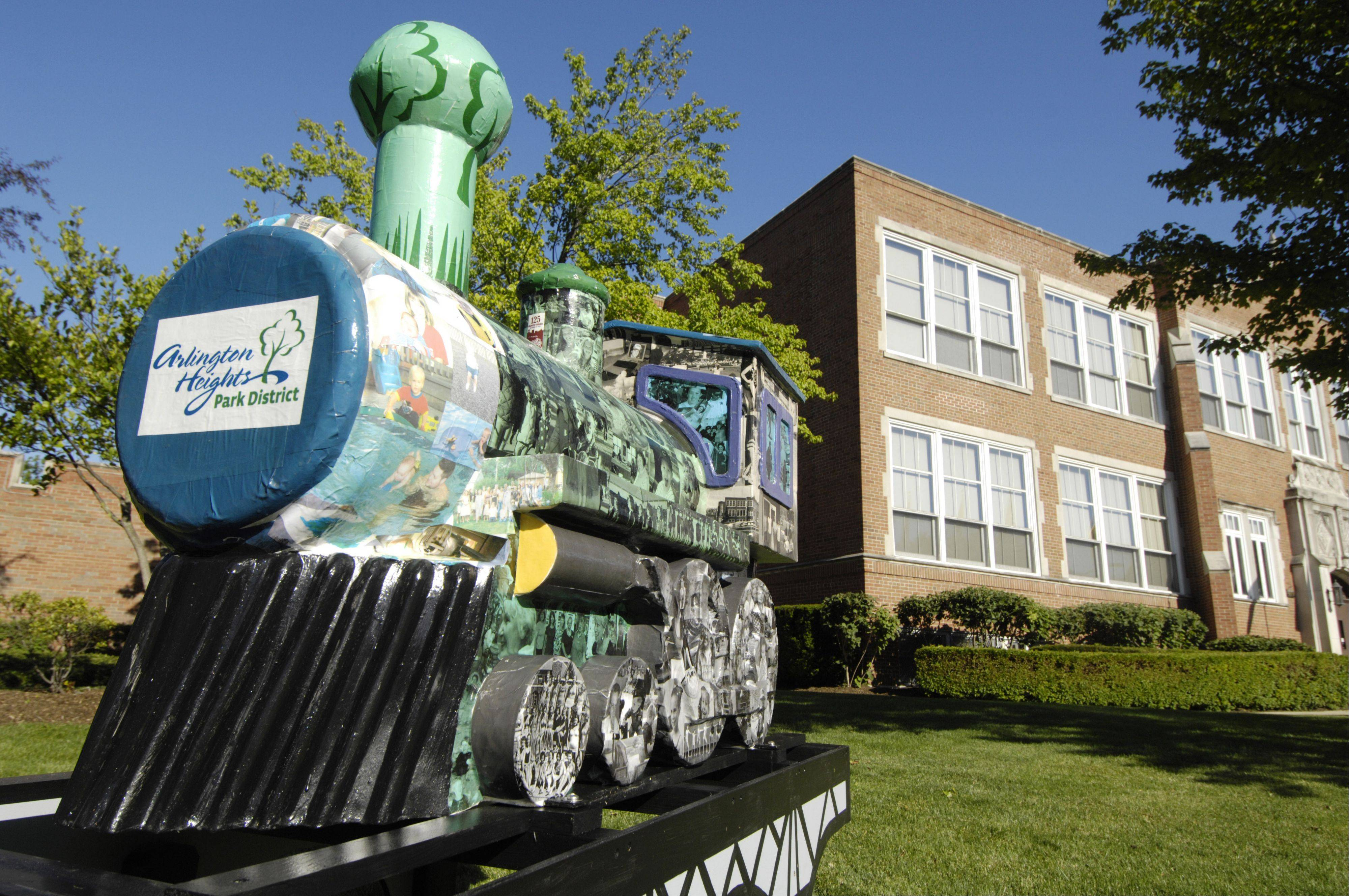 P. D. the Train sits in front of the Arlington Heights Park District Administration Center, 410 N. Arlington Heights Road, ready for Friday's Picnic in the Park in the adjacent North School Park.