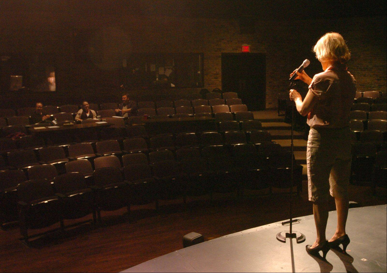 Comedienne Sally Edwards of Wauconda auditions in front of the judges for Suburban Chicago's Got Talent at the Metropolis Performing Arts Centre.