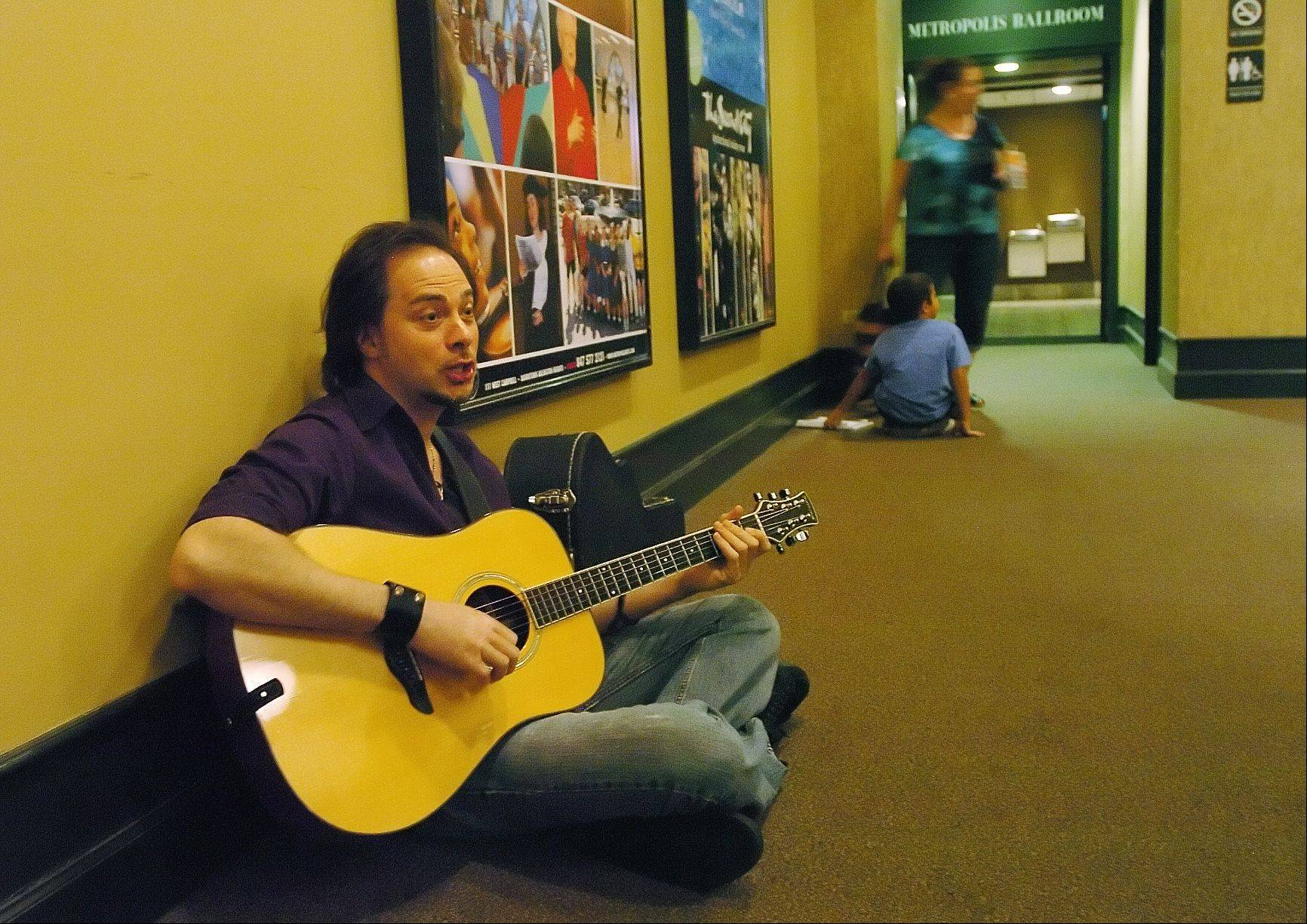 "Shawn ""Hutch"" Hutchings of Lake Zurich practices an original tune called ""Thunder Ain't Rain"" before auditioning for Suburban Chicago's Got Talent at the Metropolis Performing Arts Centre."