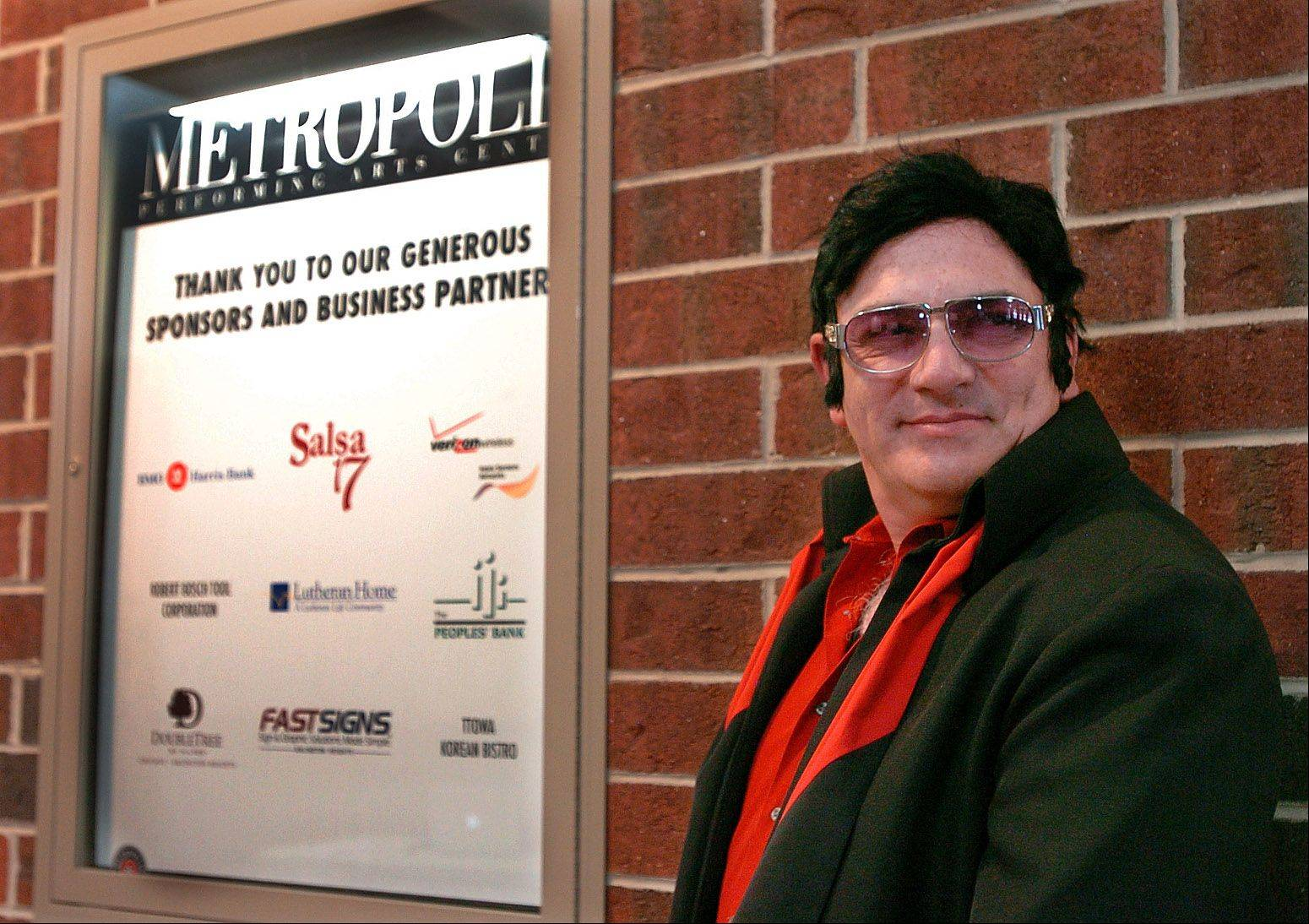 Elivis impersonator John Peterson of Schaumburg waits his turn to audition for Suburban Chicago's Got Talent at the Metropolis Performing Arts Centre.