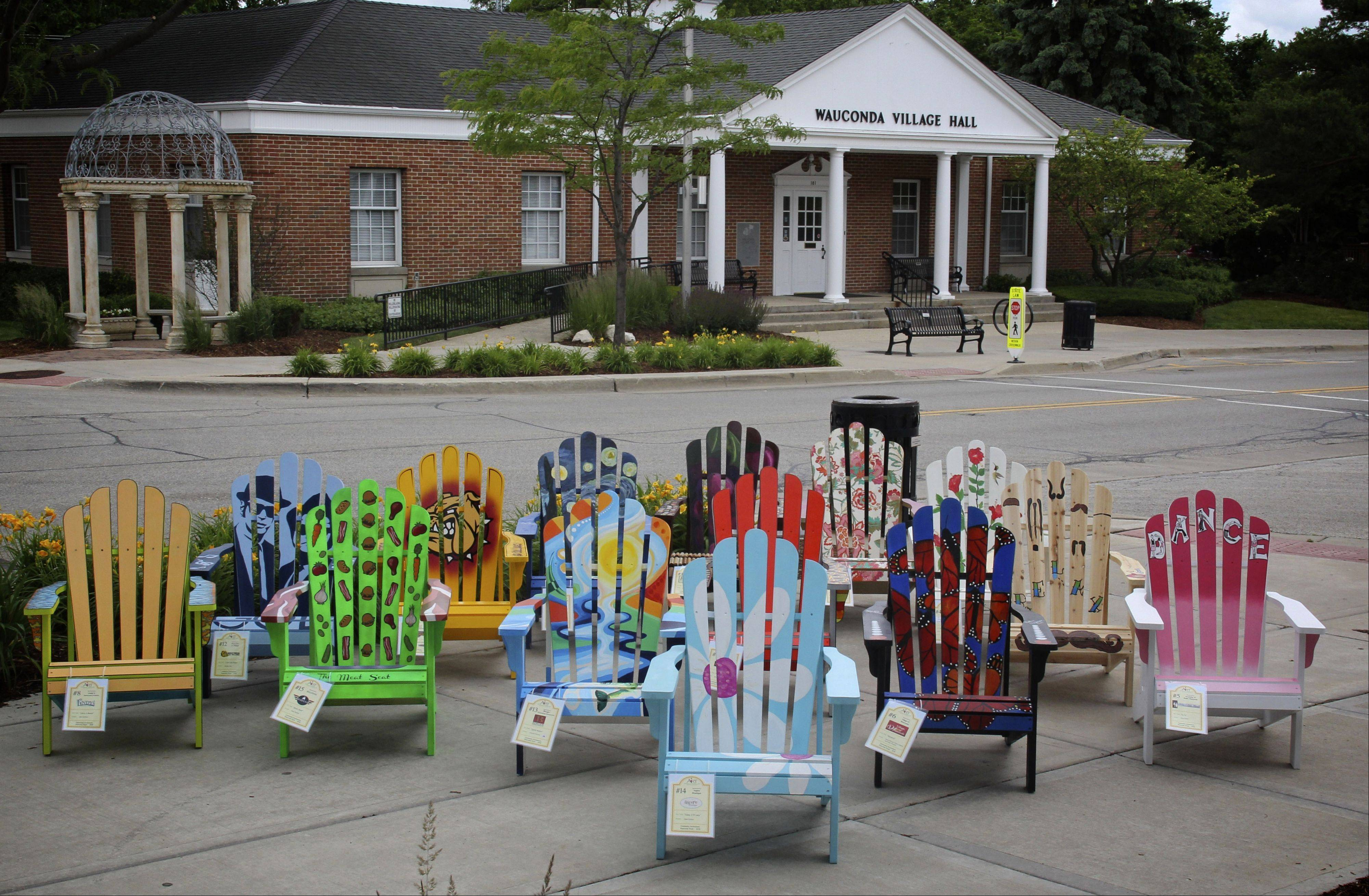 Painted Adirondack Chairs Along Main Street In Downtown Wauconda. The Chairs,  Painted By Local