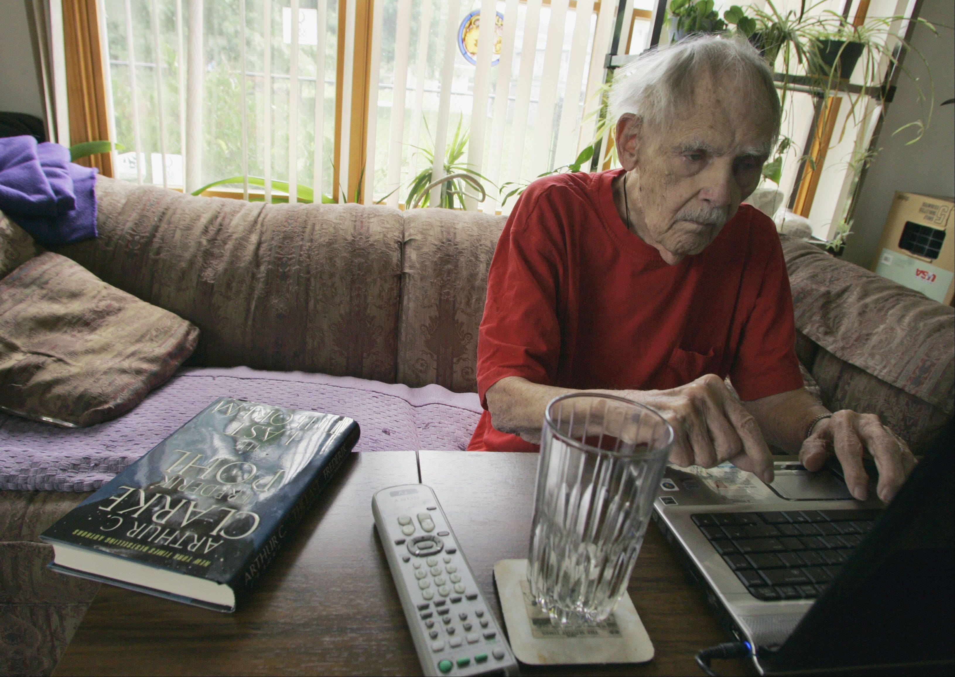 "The death of science-fiction legend and Waukegan native Ray Bradbury echoes throughout the suburbs. ""I'll miss my friend,"" said Frederik Pohl, 92, shown here in his Palatine home in 2008. Pohl and Bradbury had been friends since 1939."