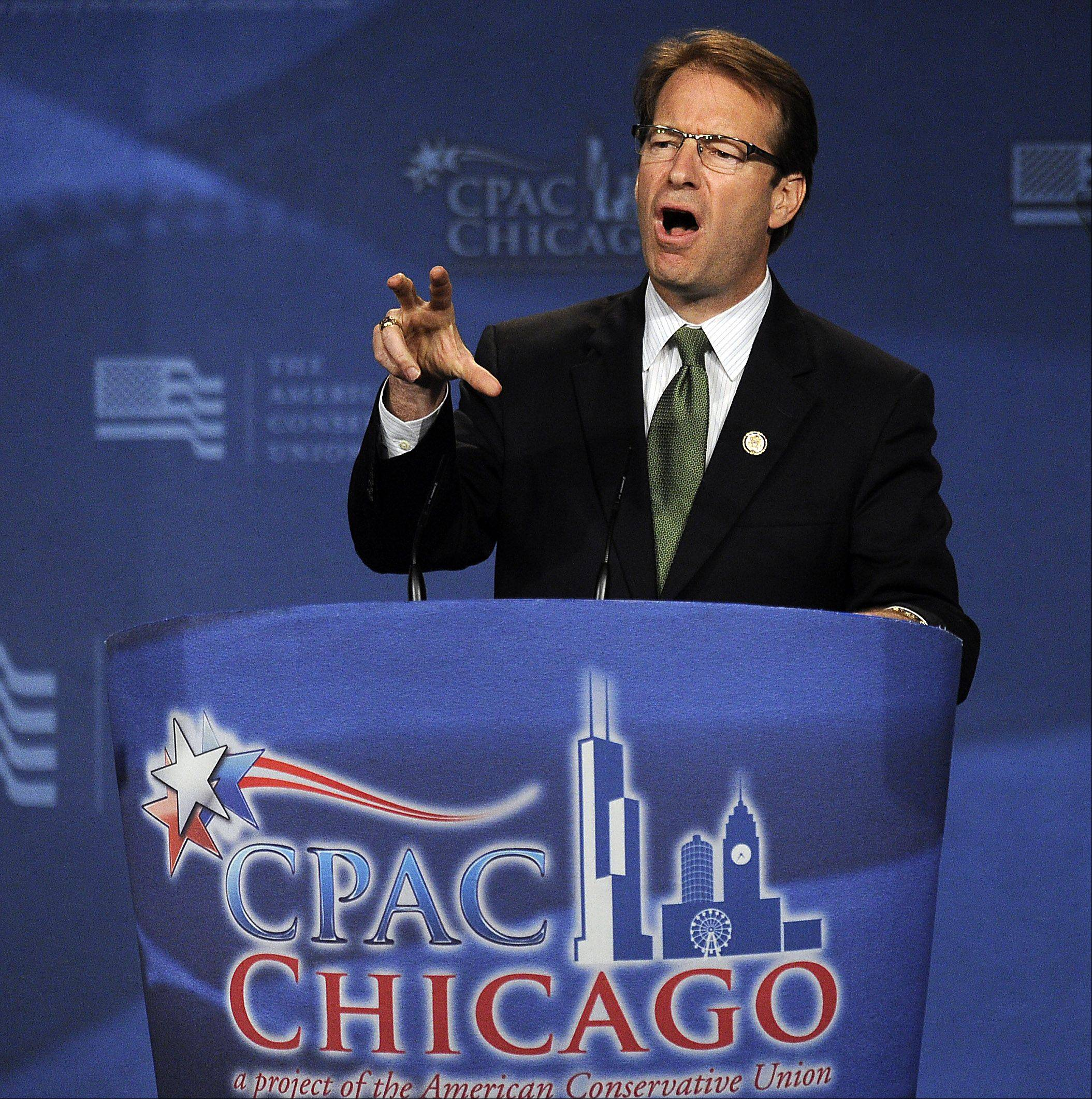 U.S. Representative Peter Roskam speaks at the CPAC Chicago's Conservative Political Action Conference on Friday at the Stephens Convention Center in Rosemont.