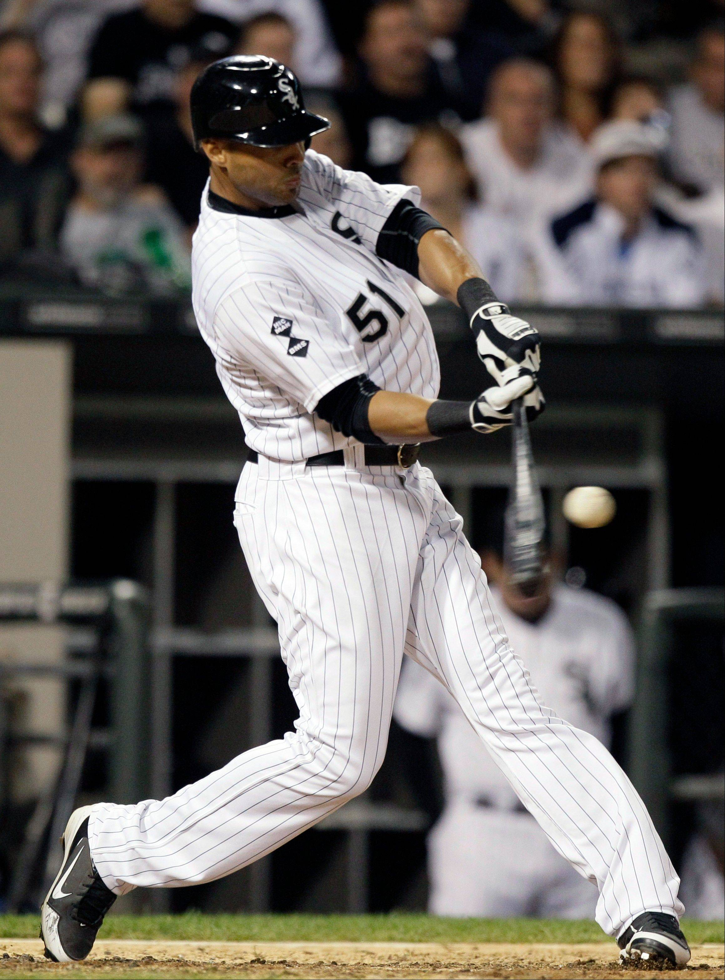 White Sox right fielder Alex Rios hits a two-run home run against the Toronto Blue Jays Thursday during the sixth inning at U.S. Cellular Field.