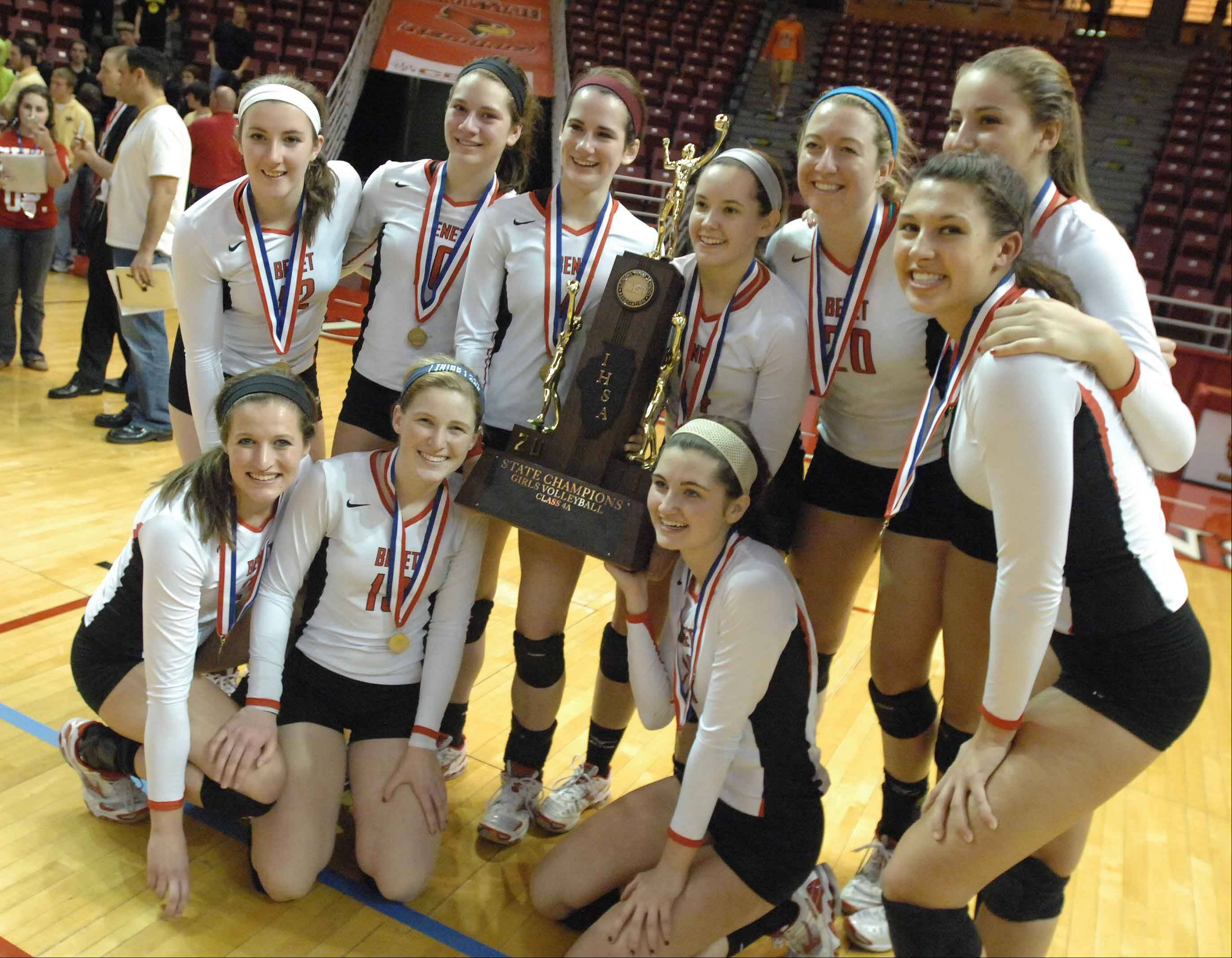 Benet girls volleyball team celebrates its state championship in November.