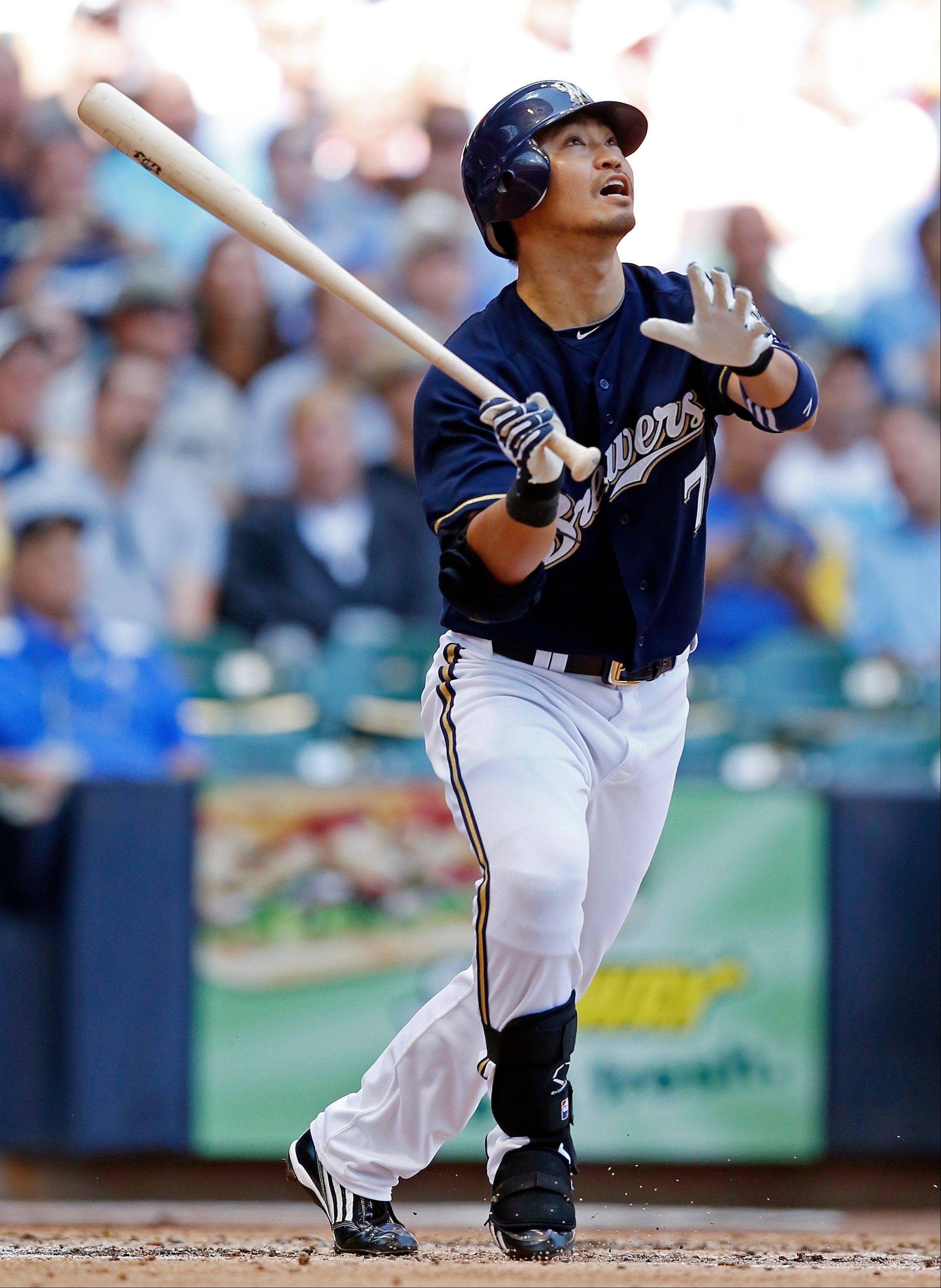 The Milwaukee Brewers' Norichika Aoki hits a solo home run against the Cubs Thursday during the fourth inning in Milwaukee.