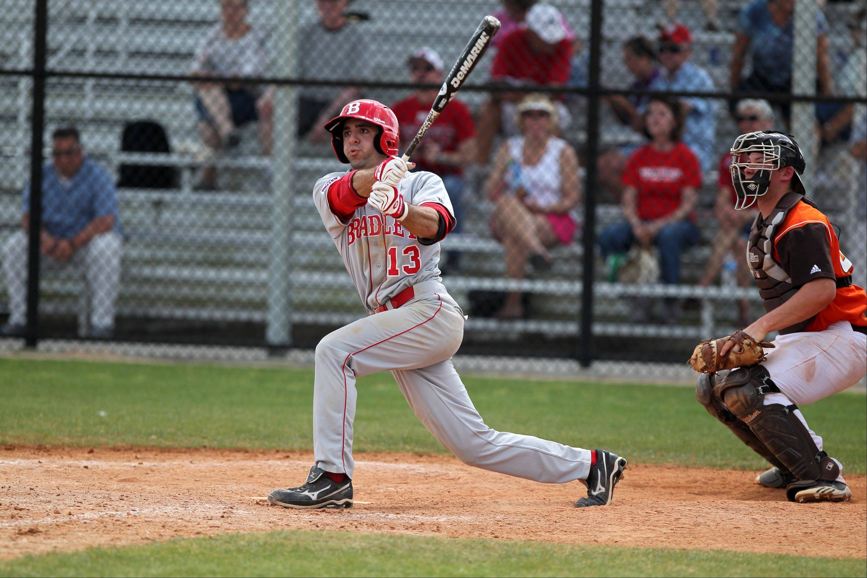Jason Leblebijian connects while playing for the Bradley Braves against Bowling Green in March.