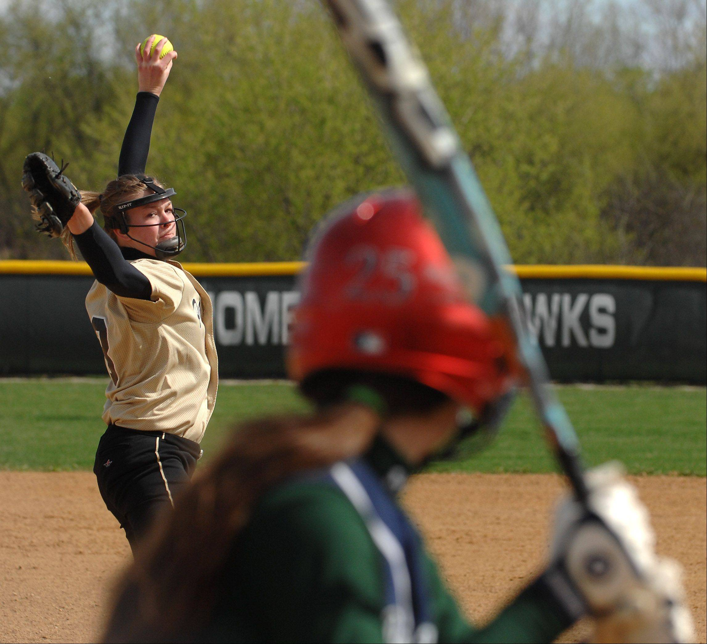 Glenbard North's Lilly Fecho delivers a pitch against Bartlett.