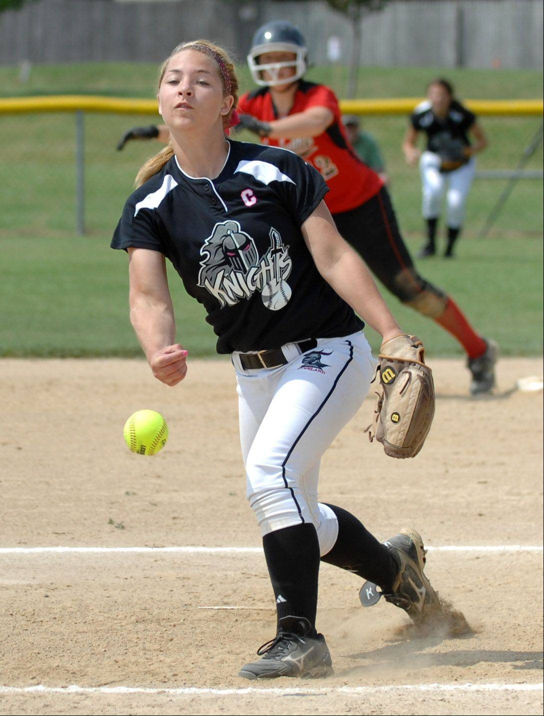 Kaneland's Delani Vest pitches against Yorkville.