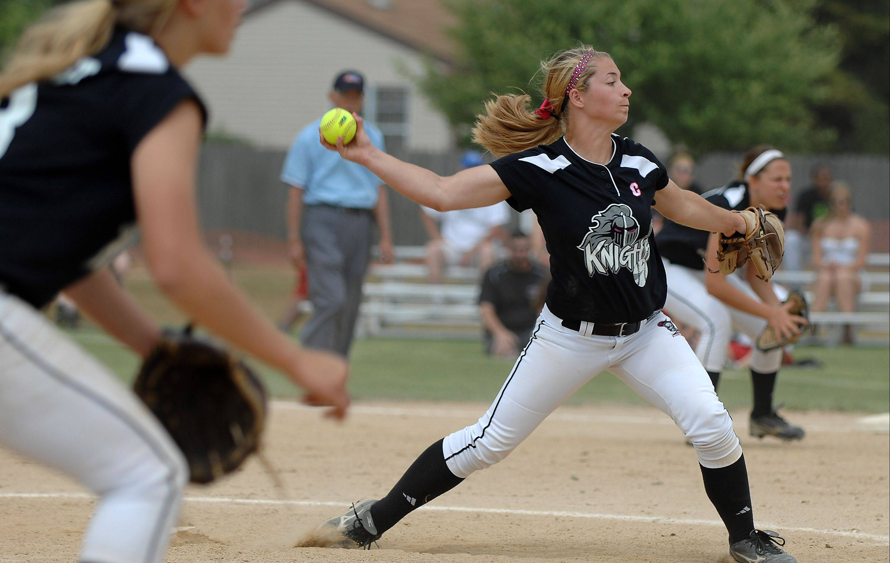 Kaneland's Delani Vest earned the win in this regional championship game against Yorkville which turned out to be the last of her 50 victories for the Knights.