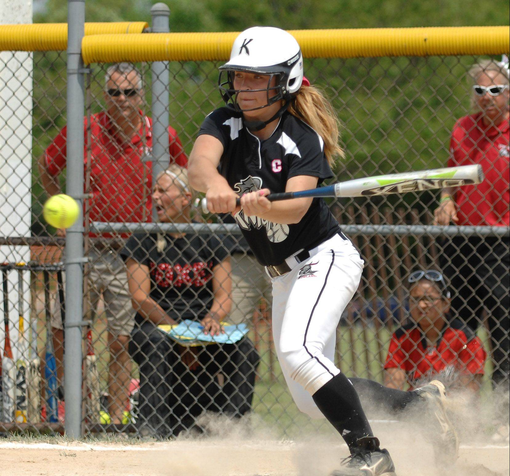 Kaneland's Delani Vest hit .448 this season, capping her four years with the Knights when she finished with a career average over .400 and won 50 games in the circle.
