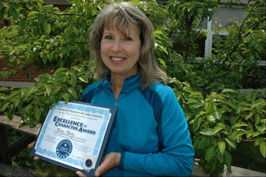 Kathy Reilly, a Fremont Elementary School physical education teacher, recently received the Excellence in Character Award for the 2011-12 school year.
