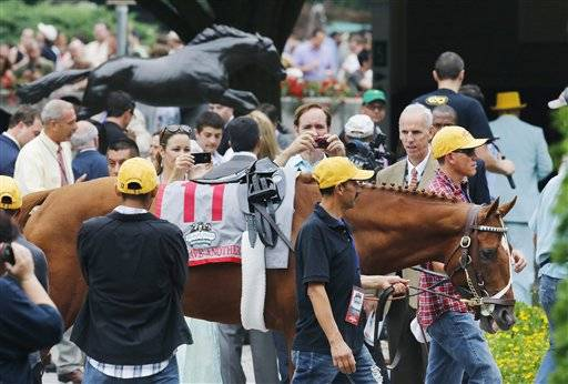 Newly retired I'll Have Another in winner's circle at Belmont