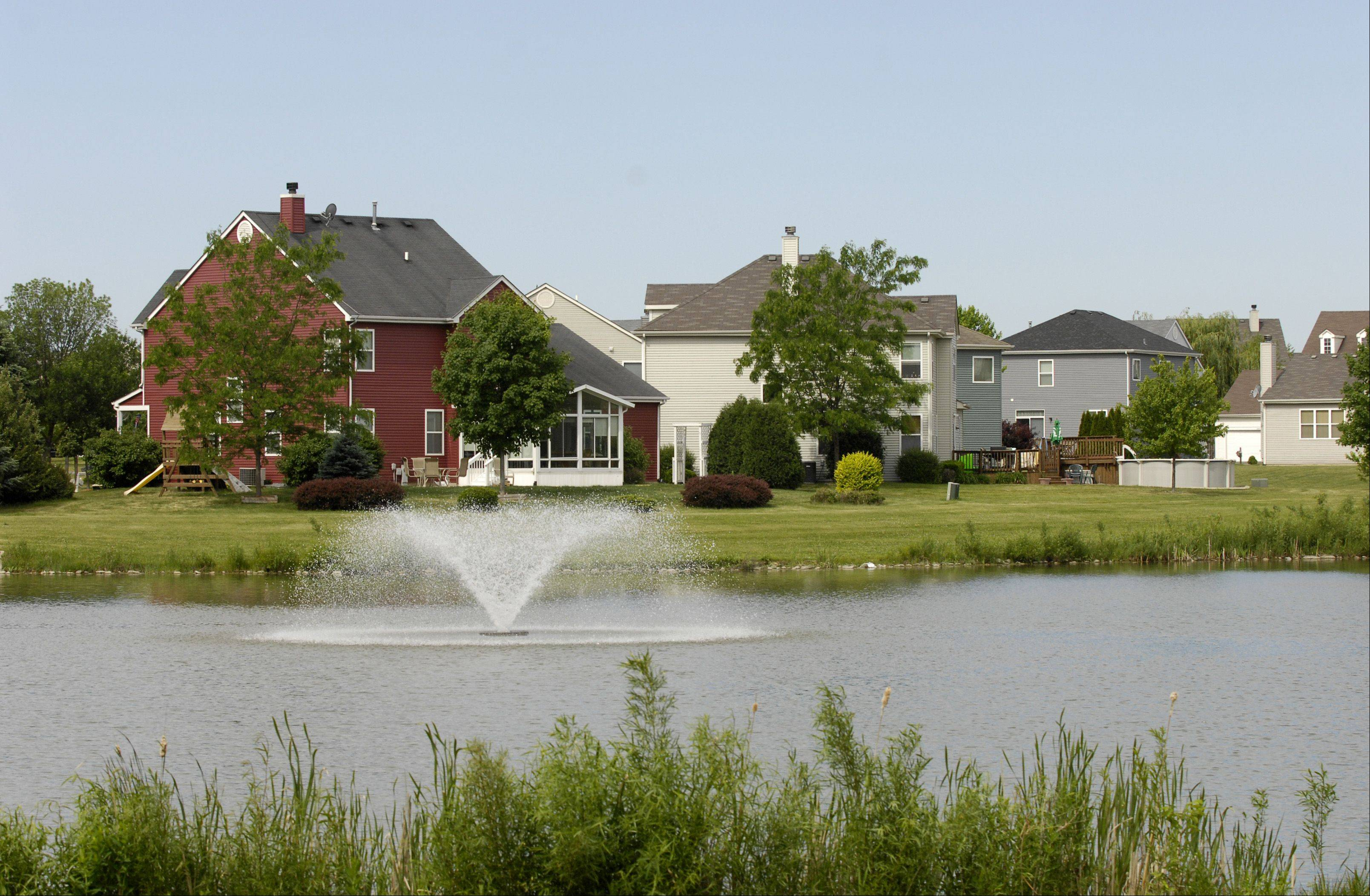 The Cornerstone Lakes subdivision in West Chicago features a parklike setting with maturing trees and two lakes.