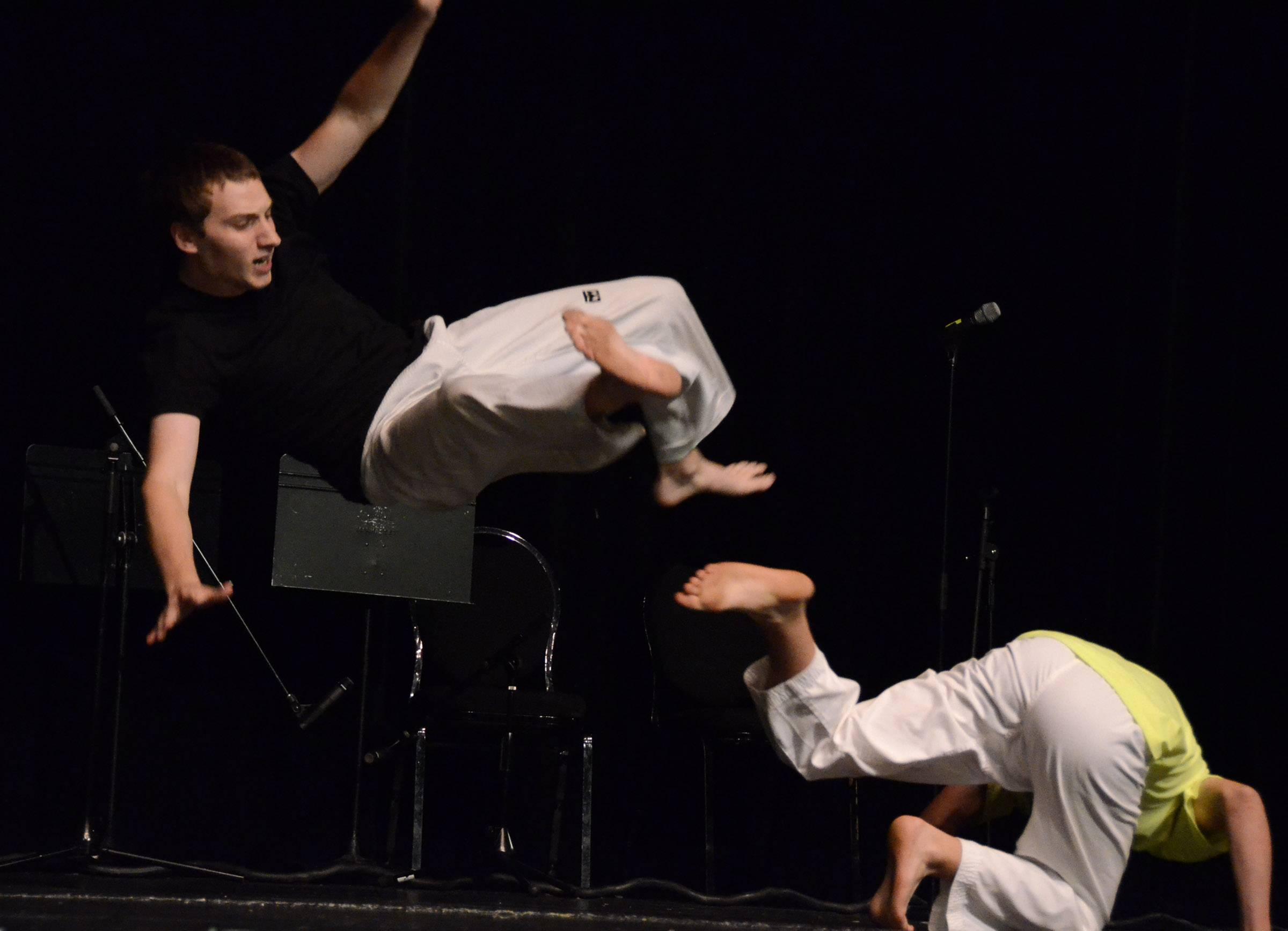 Rory Wood, 18, left, and his brother Casey, 15, both of Palatine, preform a martial arts fight scene during the Suburban Chicago's Got Talent auditions Friday at the Metropolis Performing Arts Centre in Arlington Heights. The two brothers said they have been practicing martial arts skills since age 3.