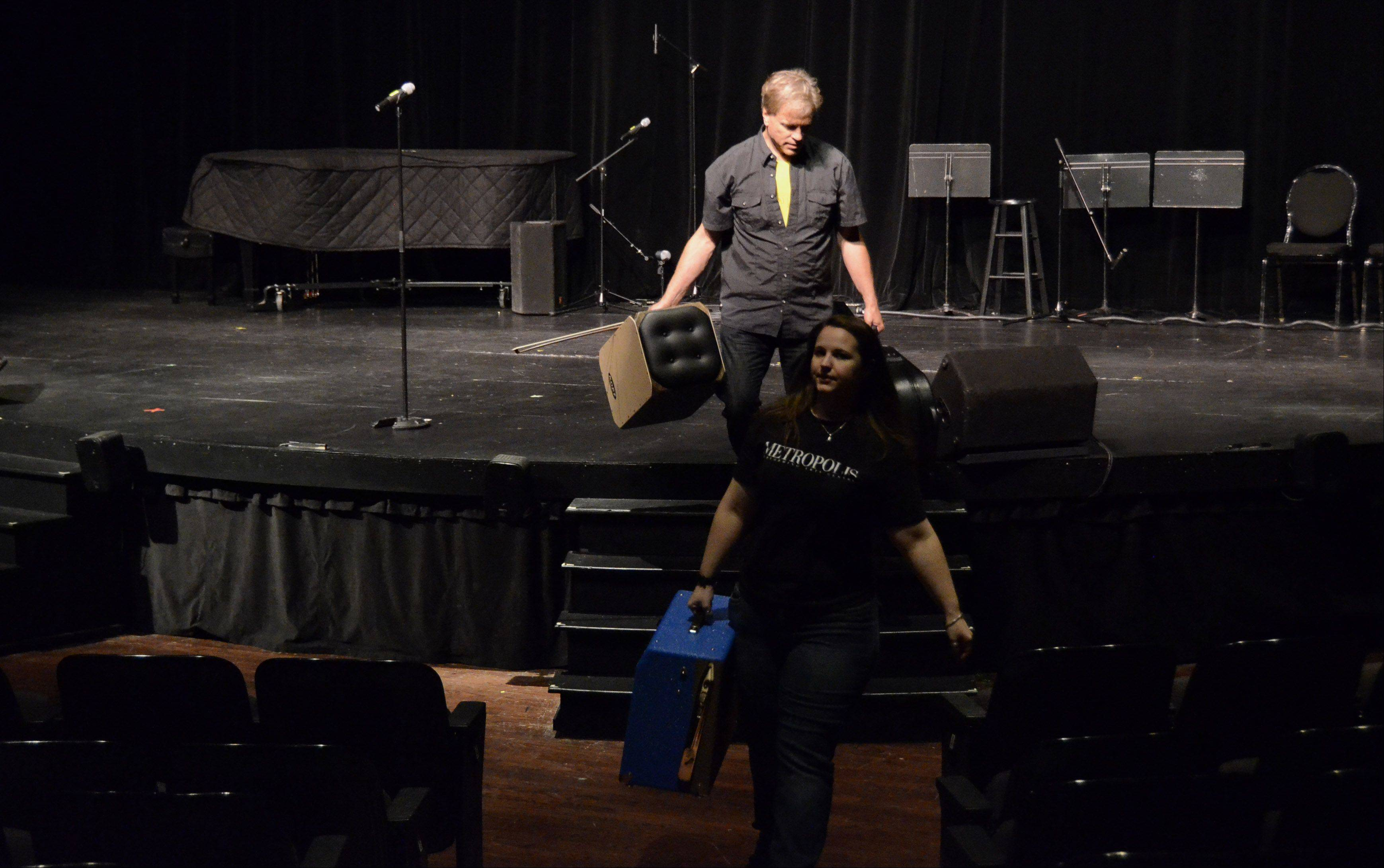 "Wesley Kochan, aka WES LeE ""K"", of Bartlett, leaves the stage after performing."
