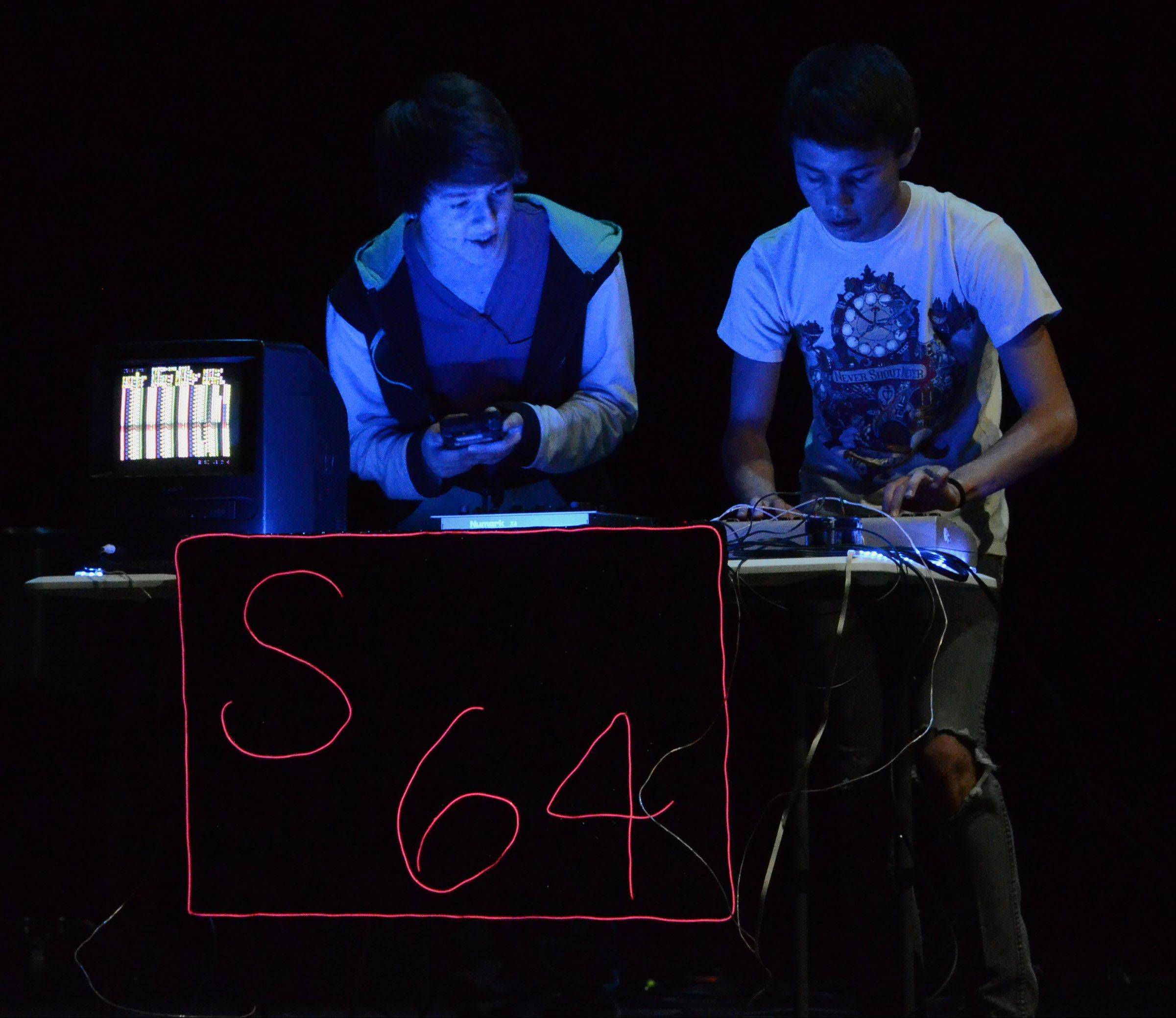 """Sophmore 64"" duo Jake Basala, 16, left, and Calvin Hughes, 17, both of LIndenhurst, preform music using a Commodore 64 and two Game Boys."