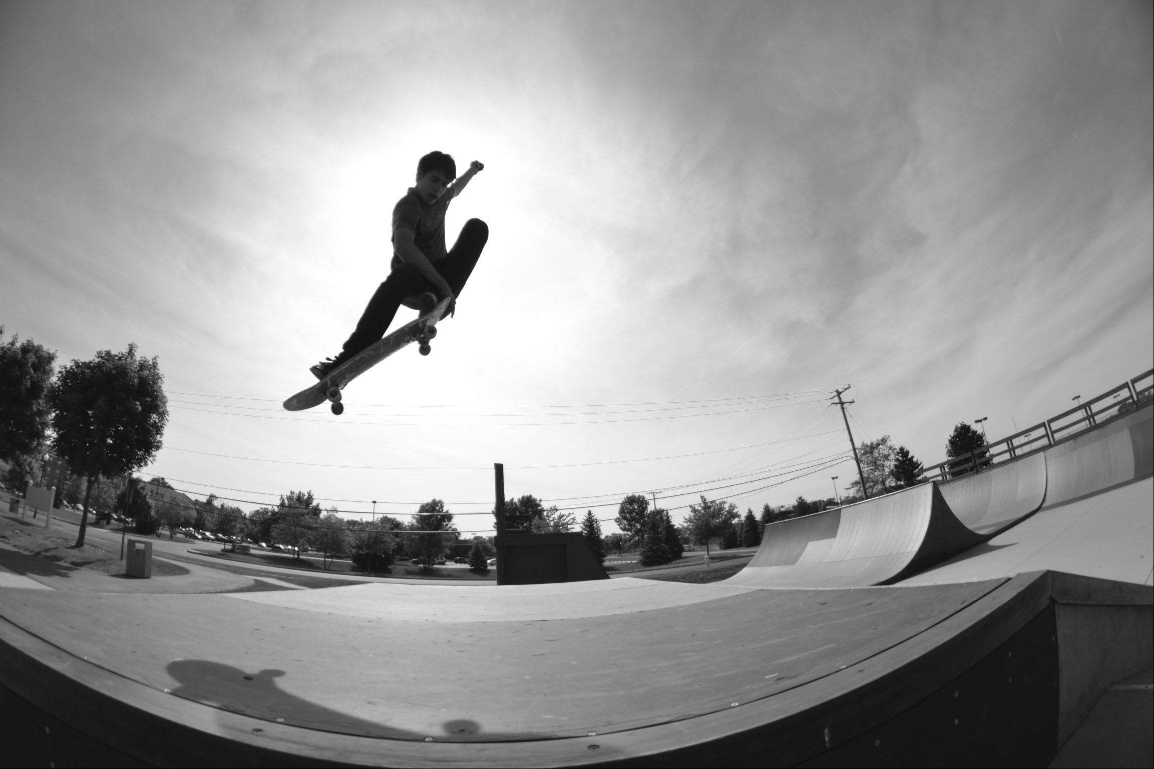 Brandon Garrity takes to the air over the flybox at Grayslake Skate Park last week.