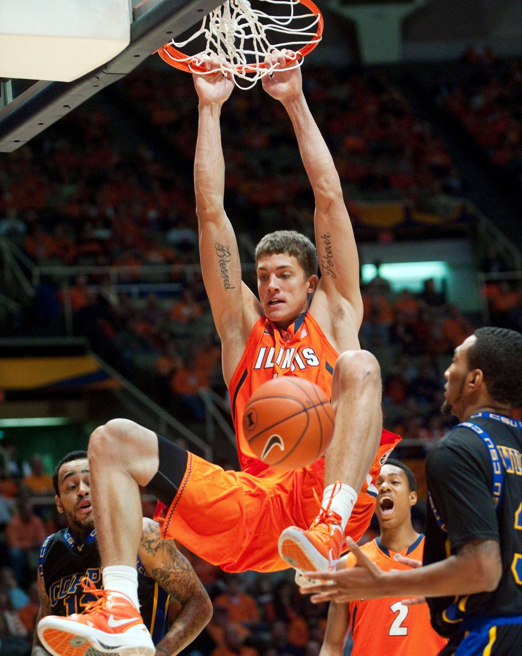 Illinois sophomore center Meyers Leonard is projected to go anywhere from No. 12 to 25 in the June 28 NBA draft. He plans to use some of his professional earnings to pay for medical treatment for his mother.