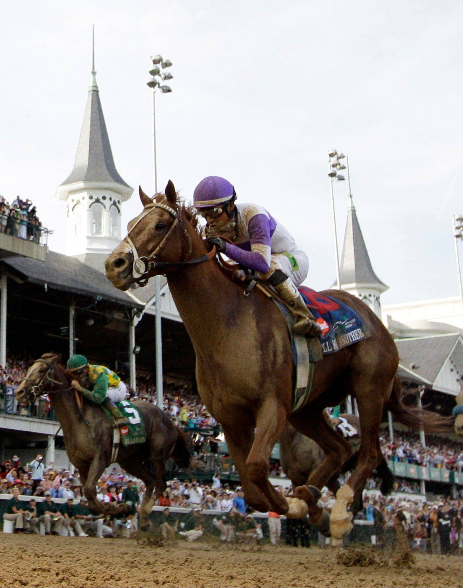 Jockey Mario Gutierrez riding I'll Have Another to victory in the 138th Kentucky Derby horse race at Churchill Downs, in Louisville, Ky. I'll Have Another's bid for a Triple Crown ended with the shocking news that the colt was out of the Belmont Stakes due to a swollen left front tendon.