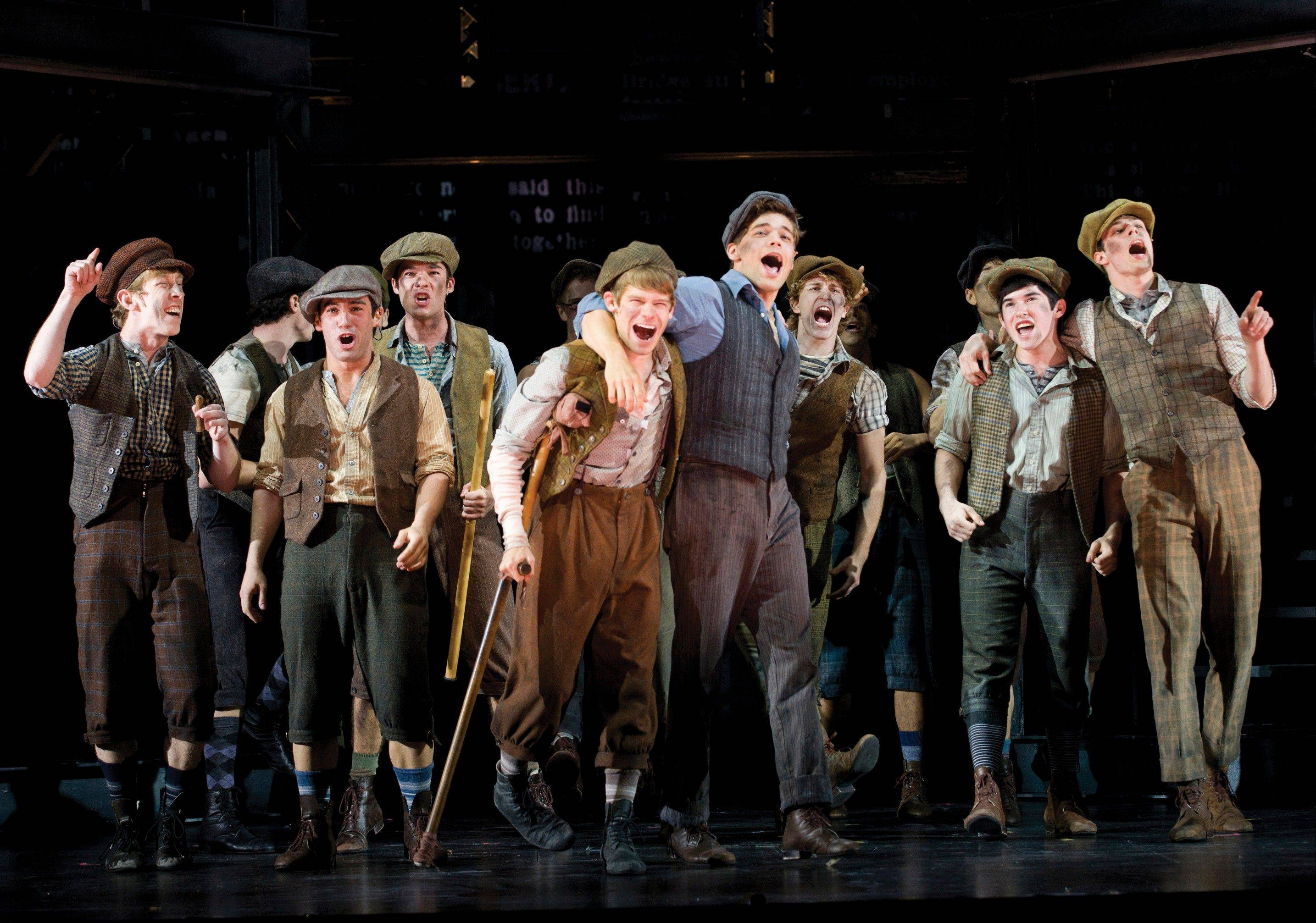 "The Paper Mill Playhouse Production of ""Newsies,"" starring Jeremy Jordan, center right, is nominated for best musical at the Tony Awards, airing Sunday on CBS."