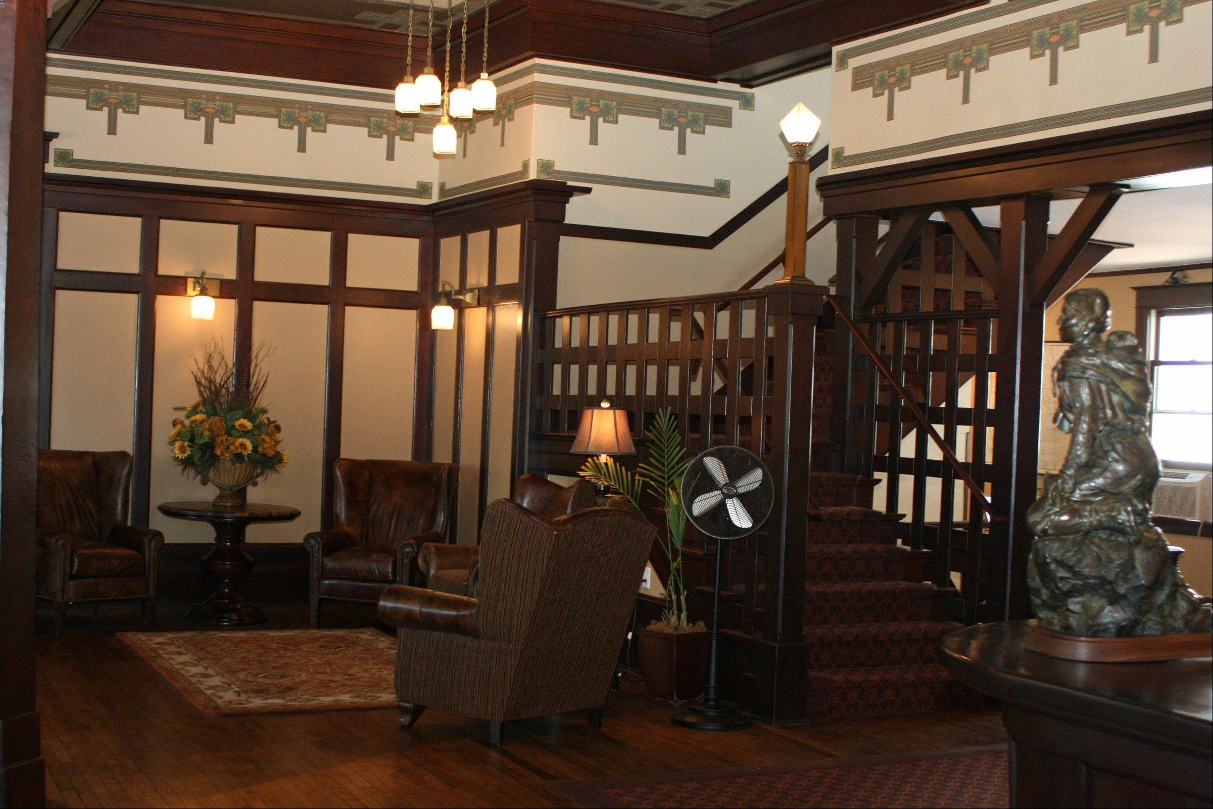 Dark wood dominates the decor of the Sacajawea Hotel lobby.