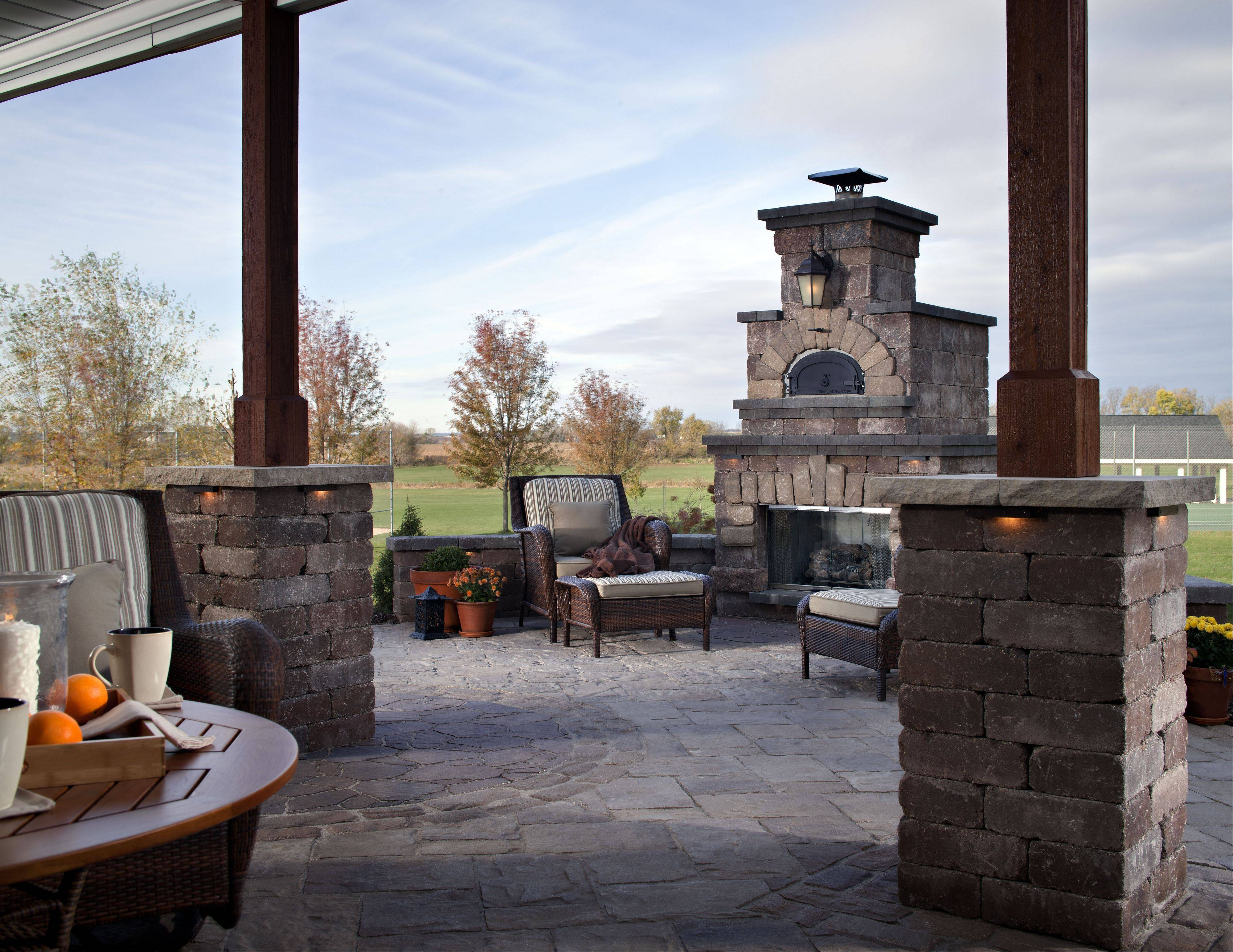 Brick ovens for baking or making pizza have become a more common feature on outdoor fireplaces.