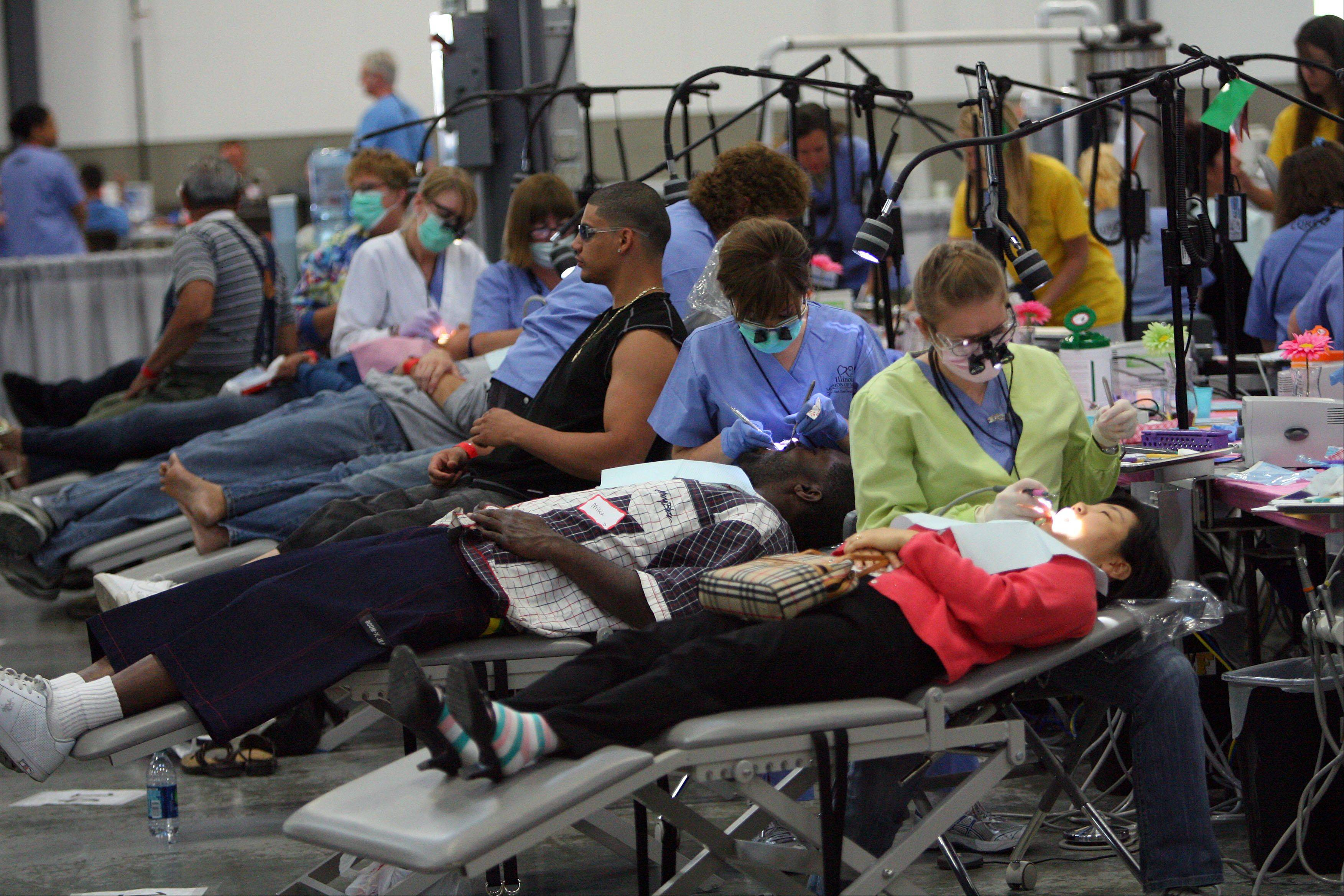 The Lake County Fairgrounds expo building in Grayslake was transformed into large-scale dental, medical and vision clinic that began Friday and will end today.