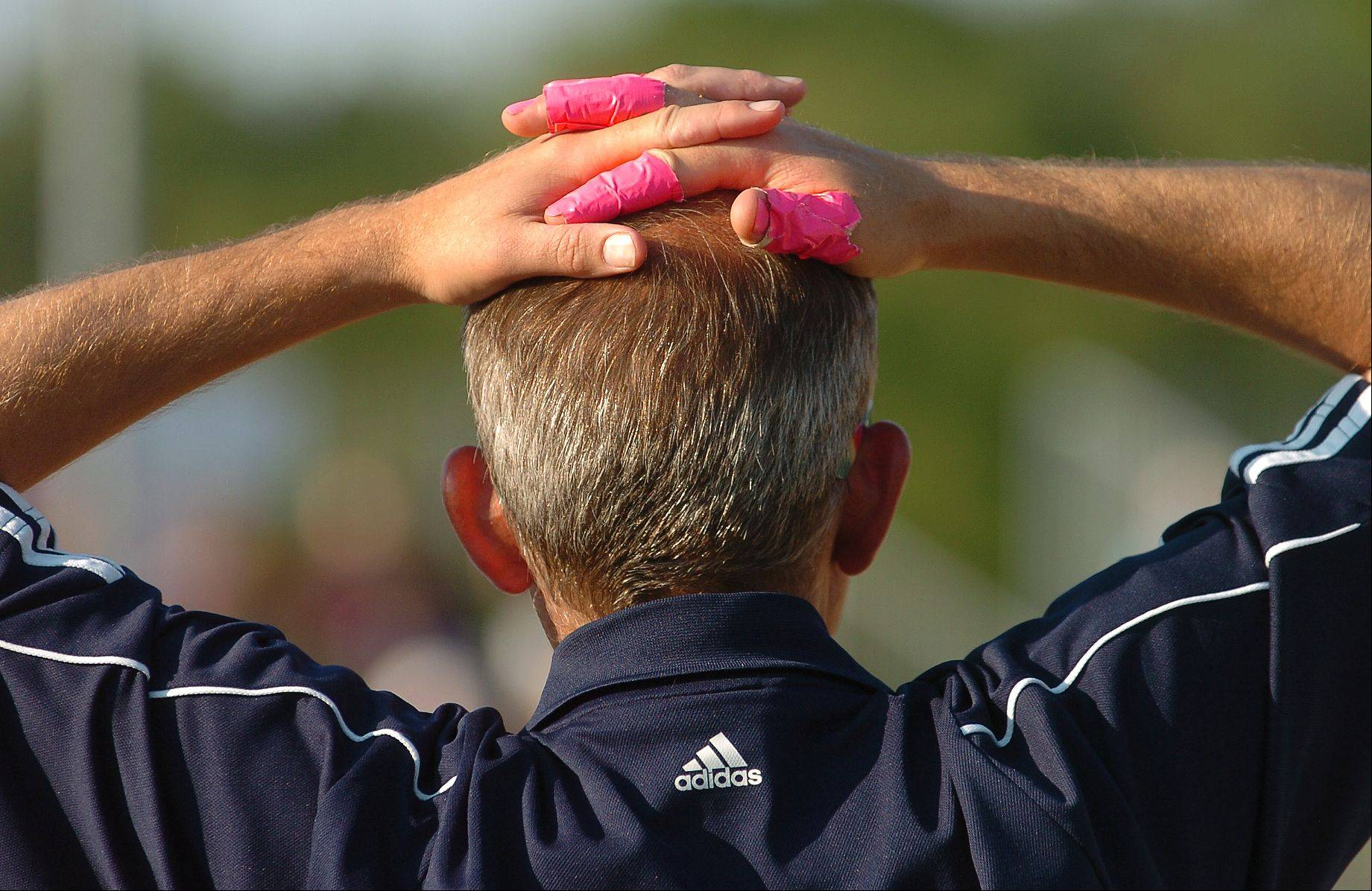 The pink fingers of Bartlett assistant coach Robert Call during the Class 4A state softball championship game between Bartlett and Marist.