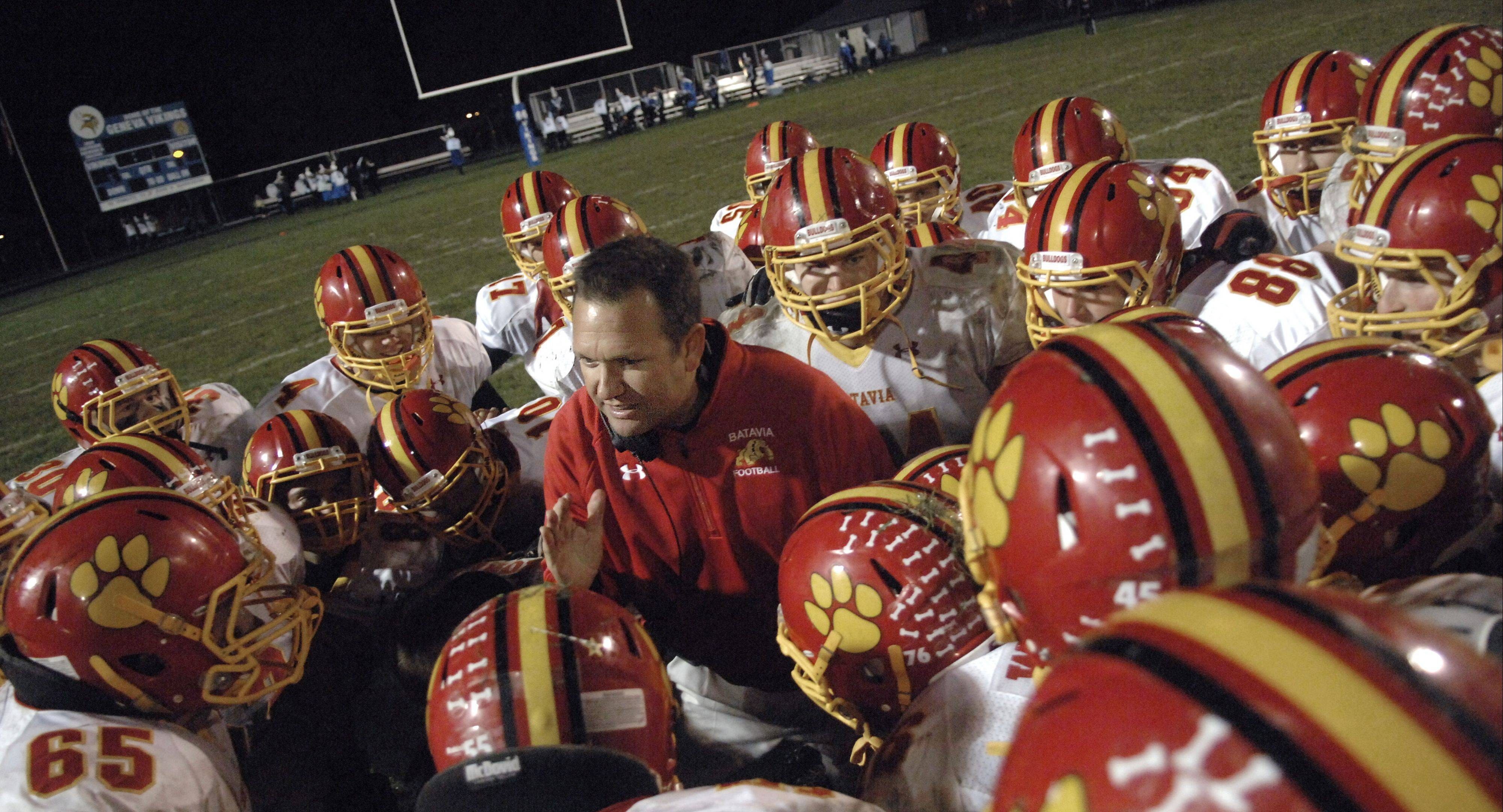 Batavia coach Dennis Piron talks with the team after their victory over Geneva last fall, a win that ranks as one of the best Craig Brueske saw this school year.