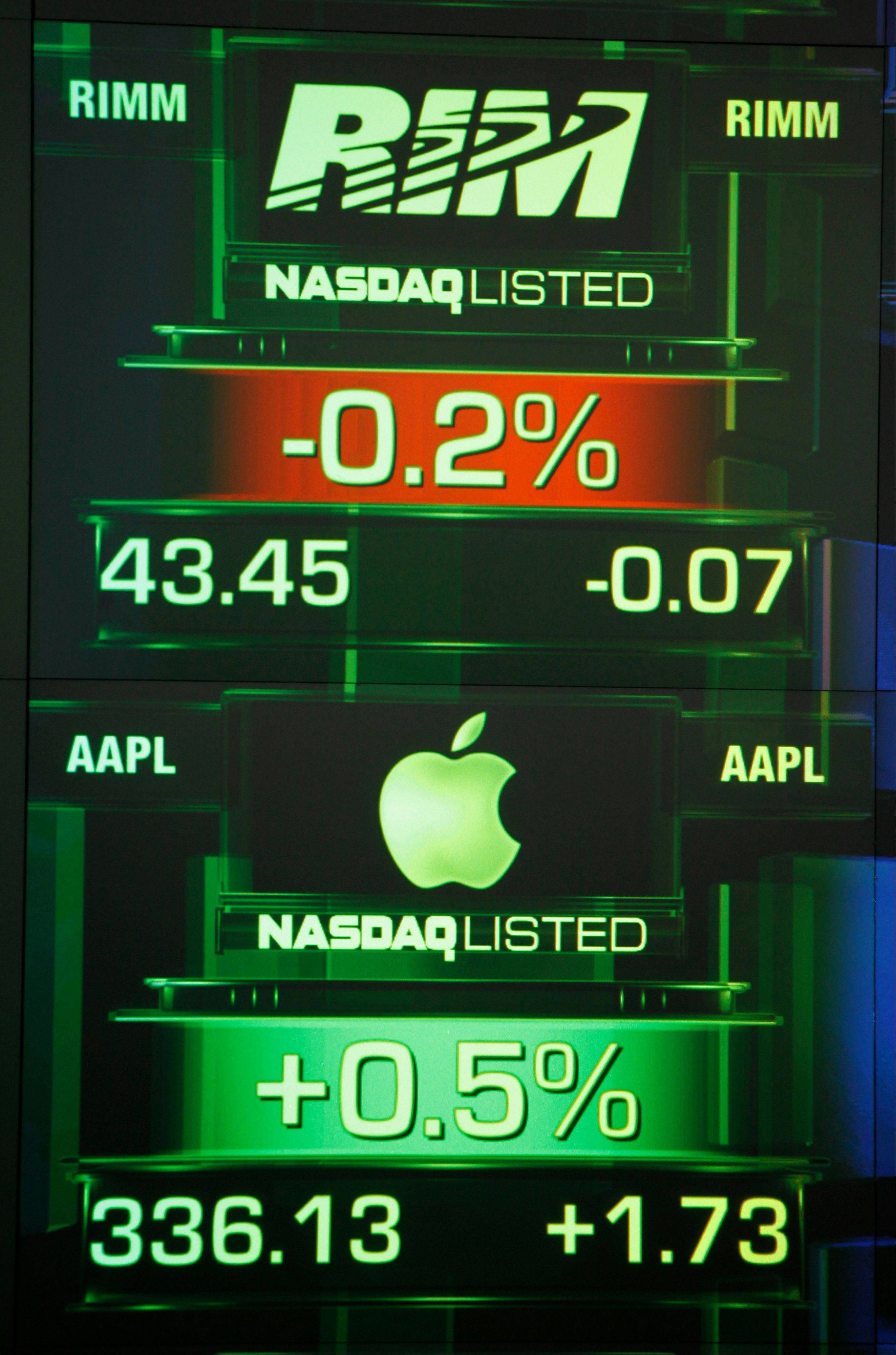 Screens display share prices for Research In Motion, top, and Apple Inc. at the Nasdaq MarketSite in New York. These are troubling times for Waterloo, the town of 100,000 that was transformed by Research In Motion's BlackBerry into Canada's Silicon Valley.