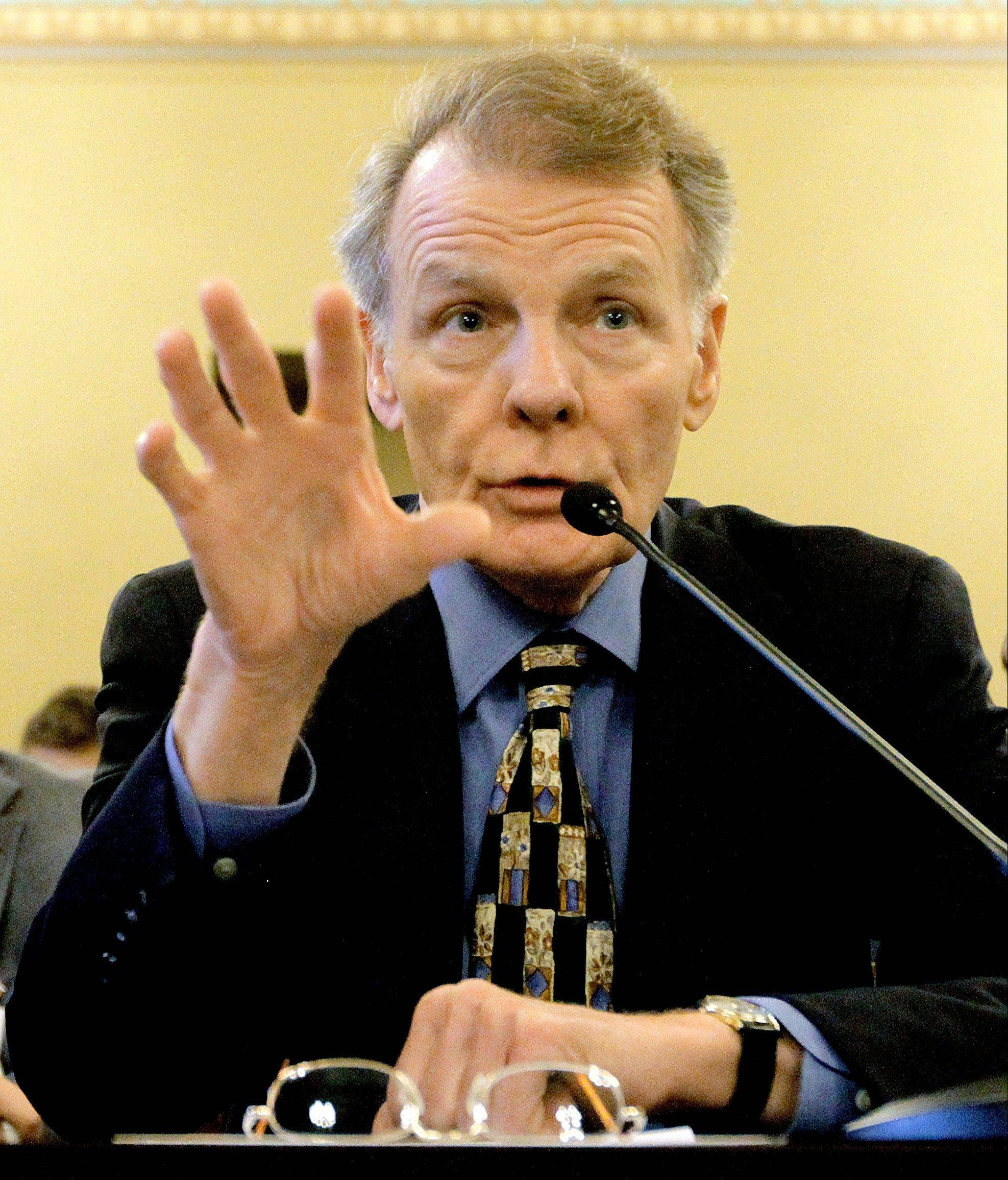 Illinois Speaker of the House Michael Madigan, D-Chicago, testifies during a House Personnel and Pensions Committee hearing at the Illinois State Capitol last month.