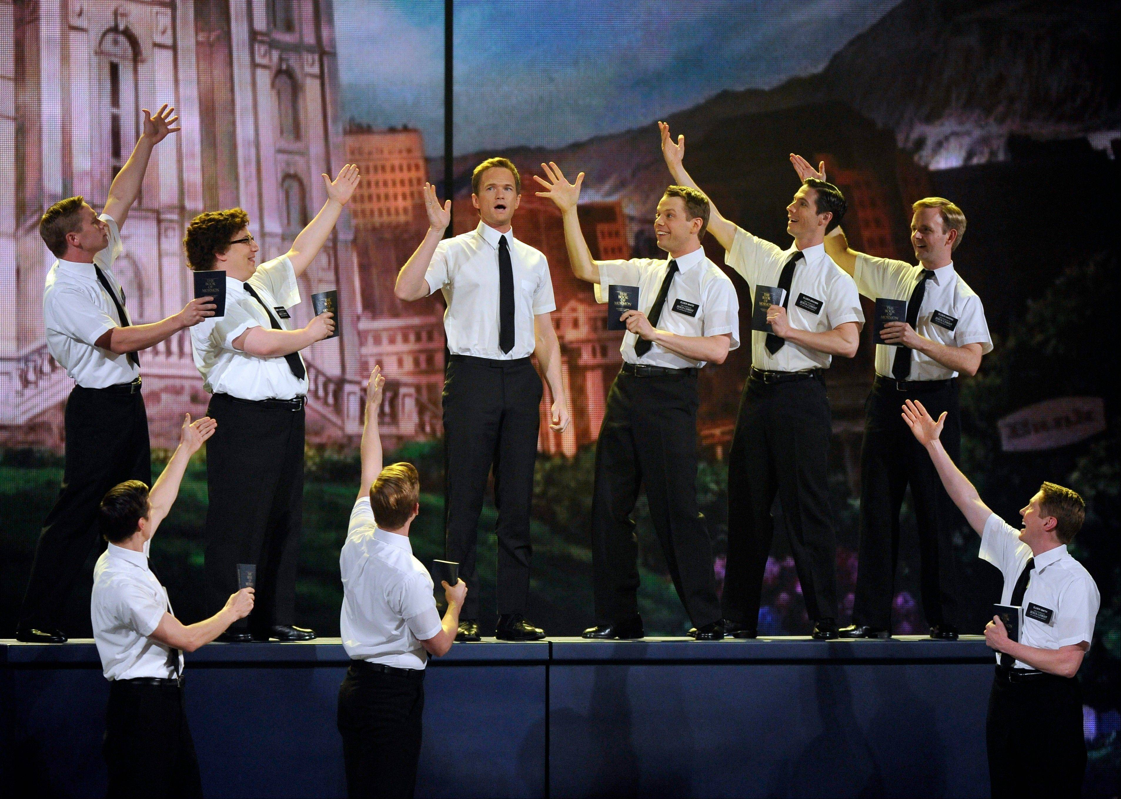 "Host Neil Patrick Harris kicked off the show with the cast of ""The Book of Mormon."""