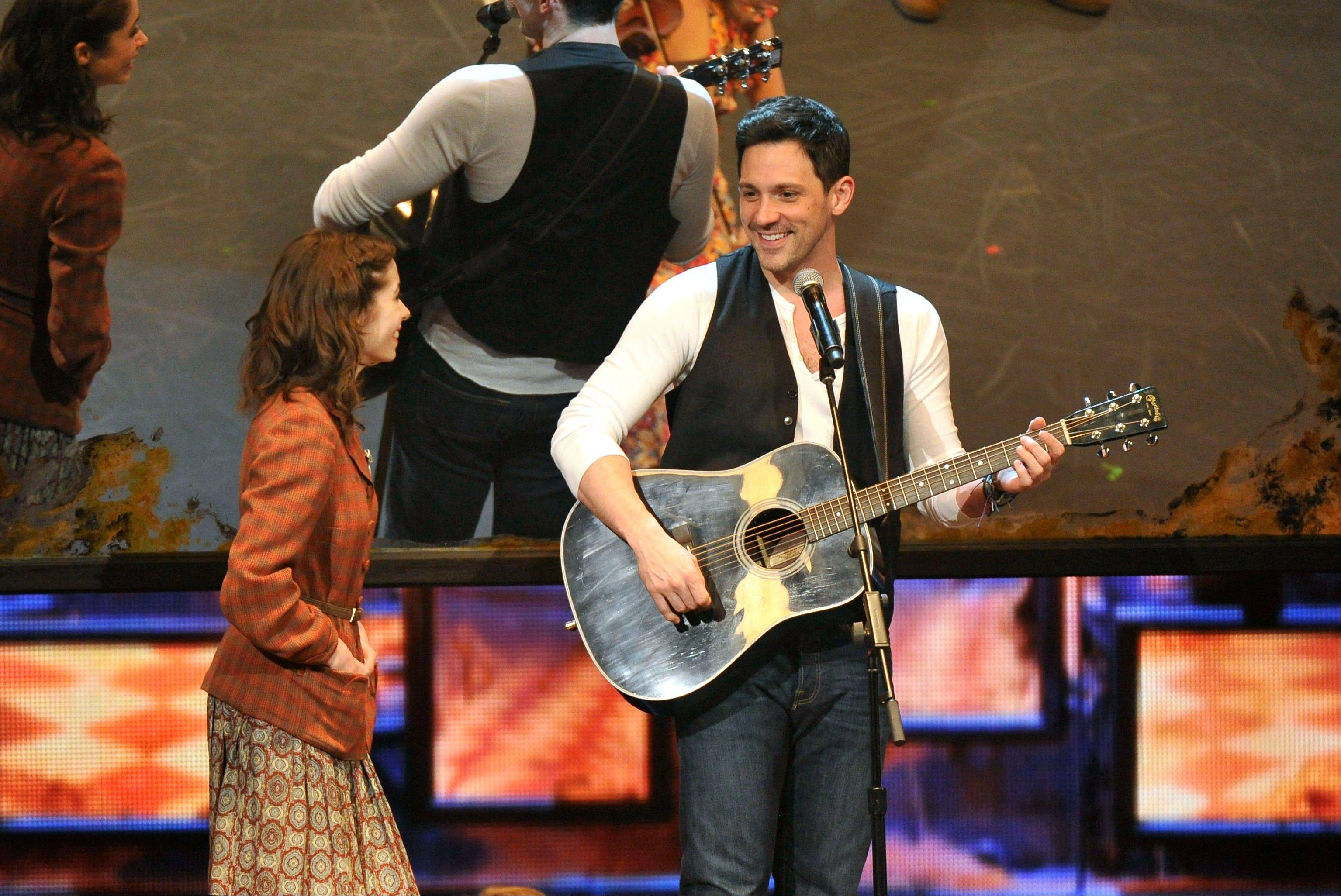 "Cristin Milioti, left, and Steve Kazee perform in a scene from ""Once,"" which would take home eight Tony Awards."
