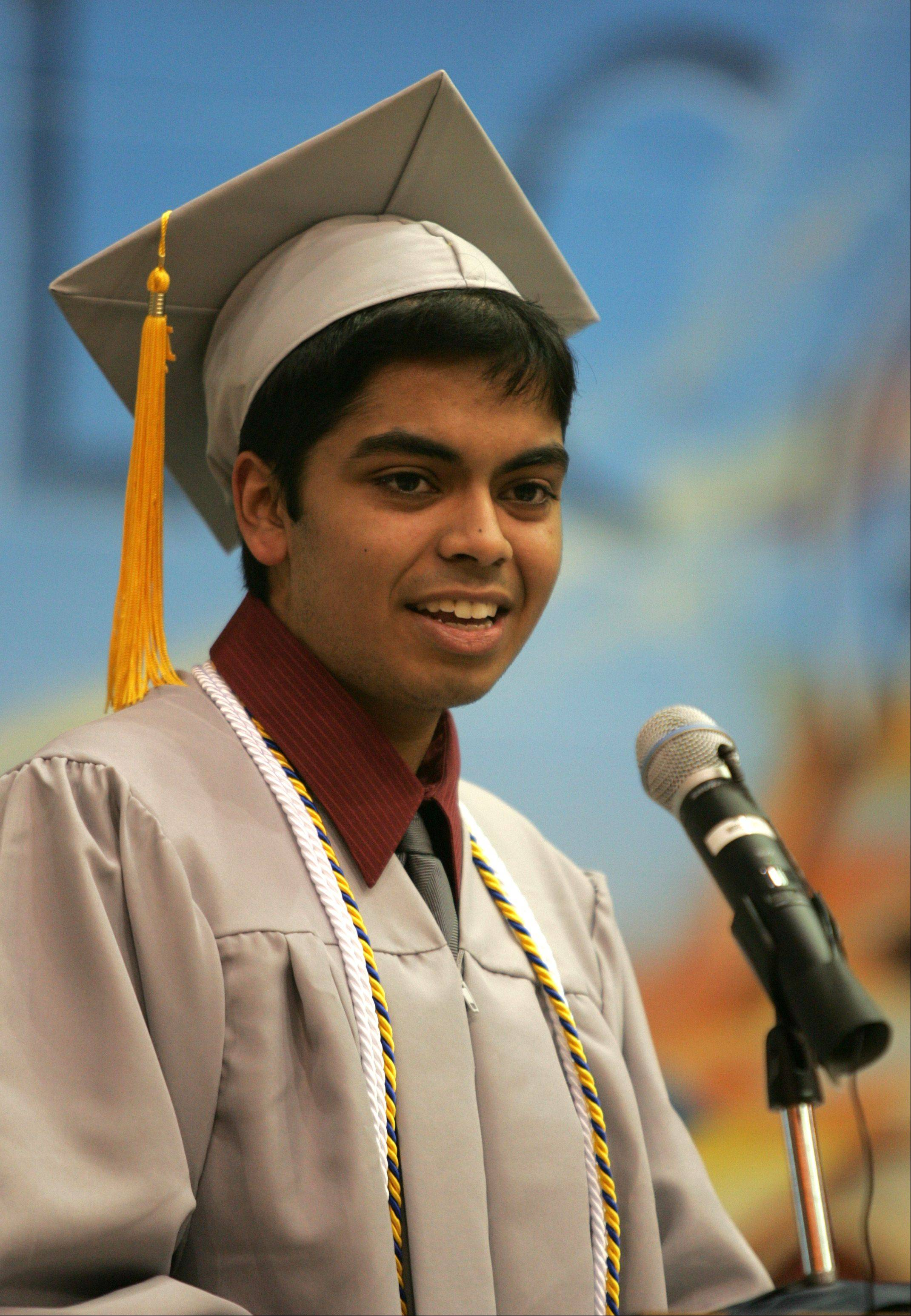 "Shawn Caeiro delivers a commencement address titled 'Together as One"", during the Willowbrook High School graduation."
