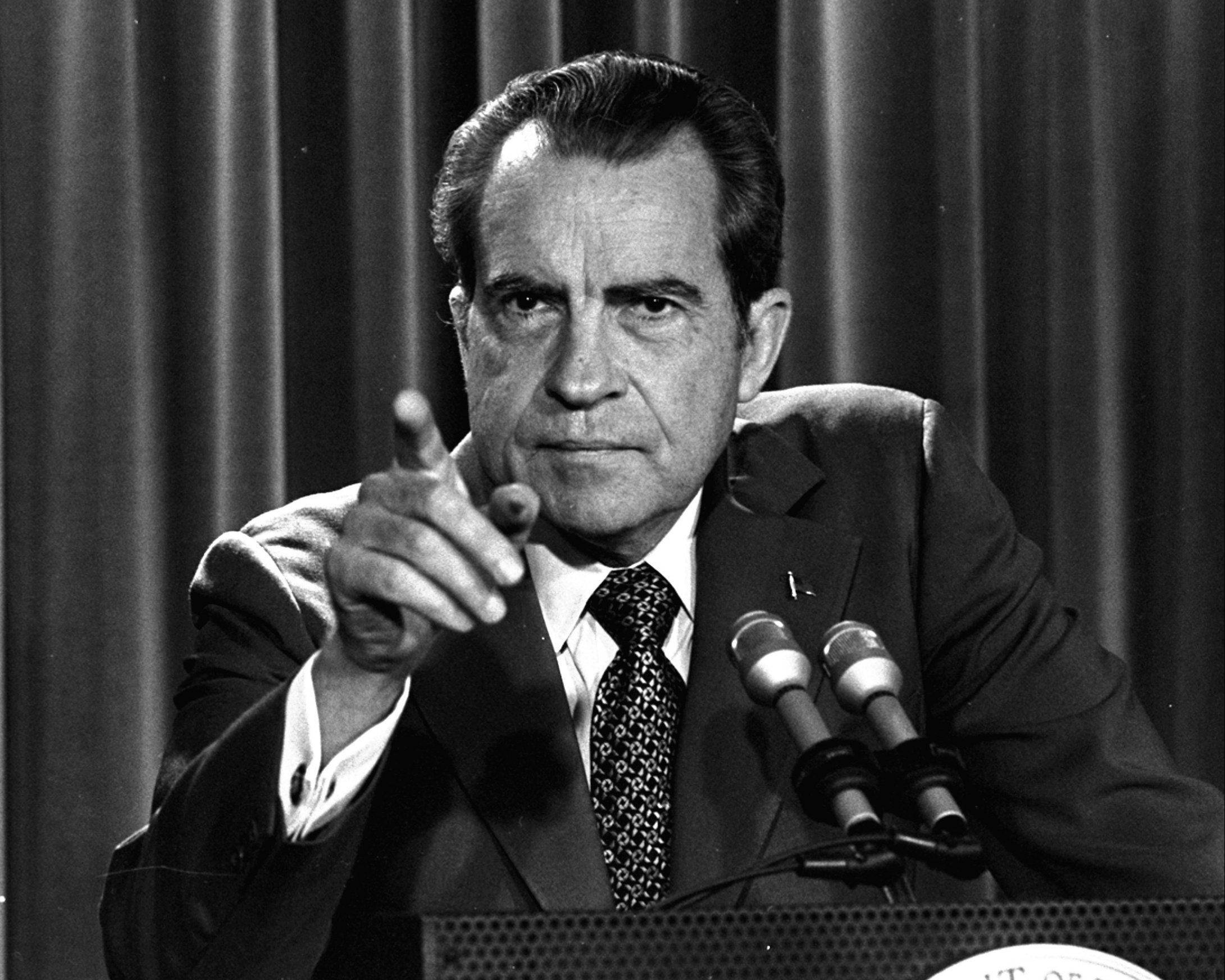 In this March 15, 1973, file photo President Nixon tells a White House news conference that he will not allow his legal counsel, John Dean, to testify on Capitol Hill in the Watergate investigation and challenged the Senate to test him in the Supreme Court.