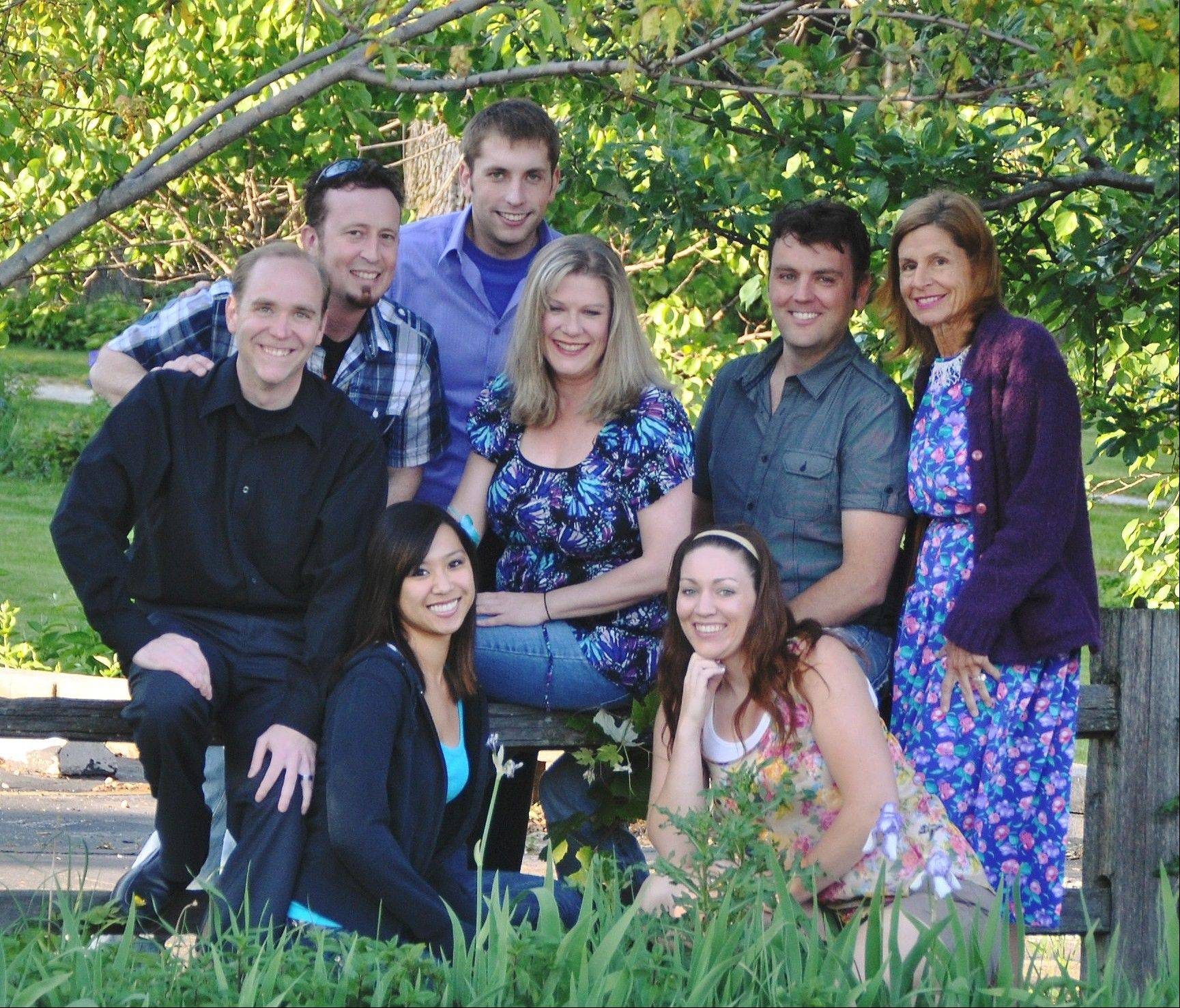 "The cast of ""Heaven"": First row: Brianne Durfey and Katie Batt; second row: Galen Malick, Debbie Fowler, Scott Surowiecki and Rita Lopienski; last row: Dean Pearson and Russ Devereaux."