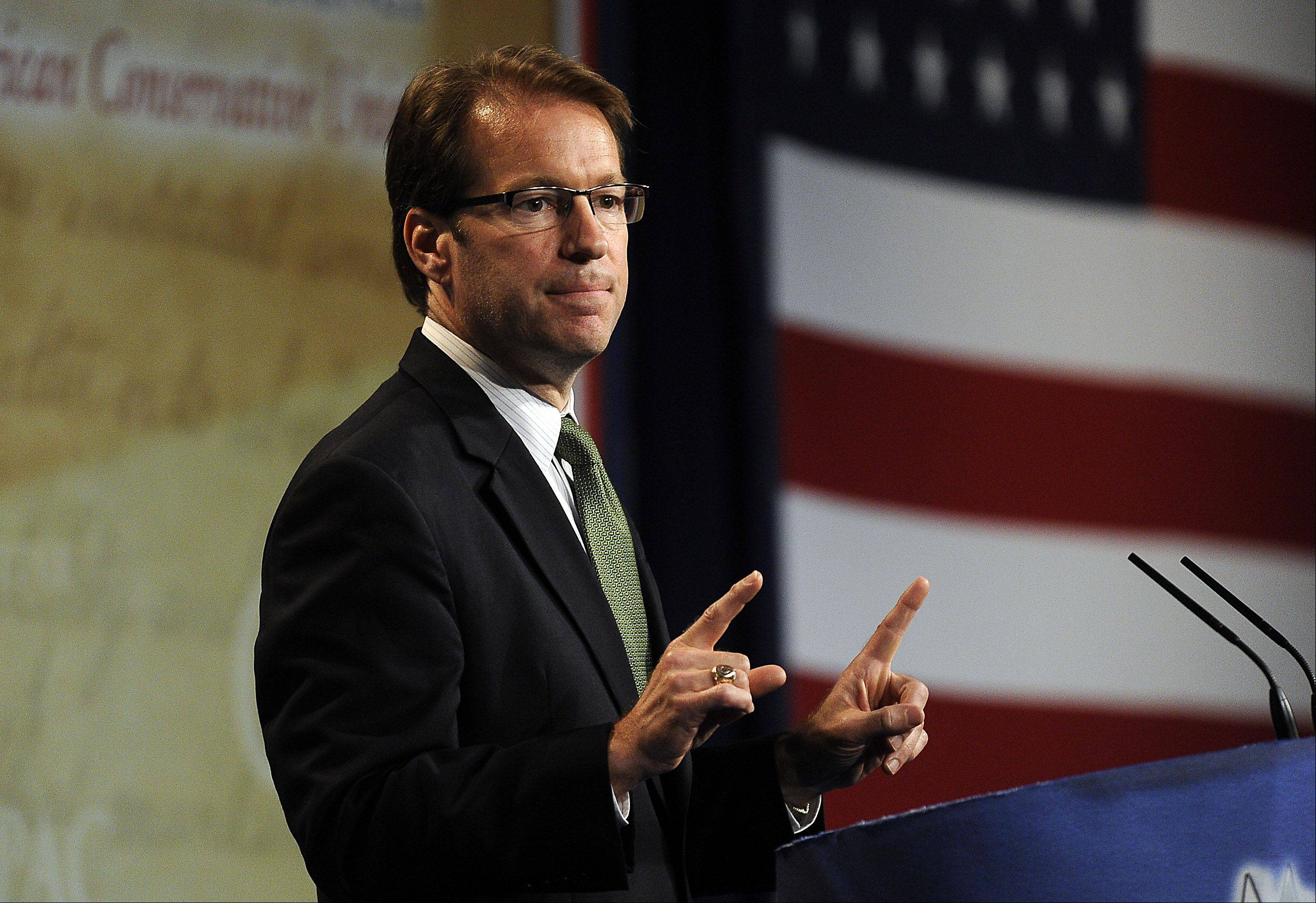 U.S. Representative Peter Roskam speaks to the Conservative Political Action Conference at the Stephens Convention Center in Rosemont on Friday.