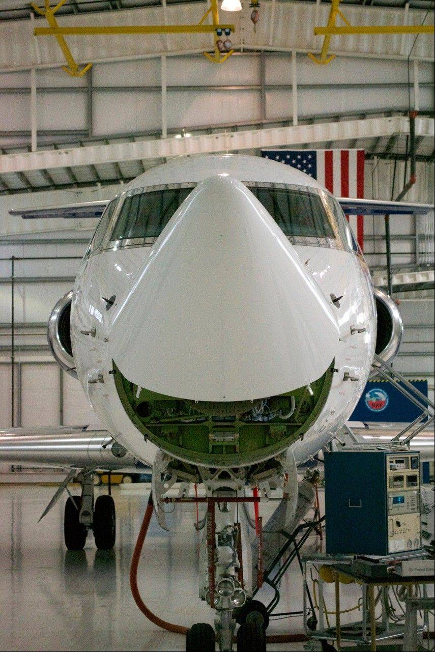 Radar in the plane's nose cone detects weather conditions.