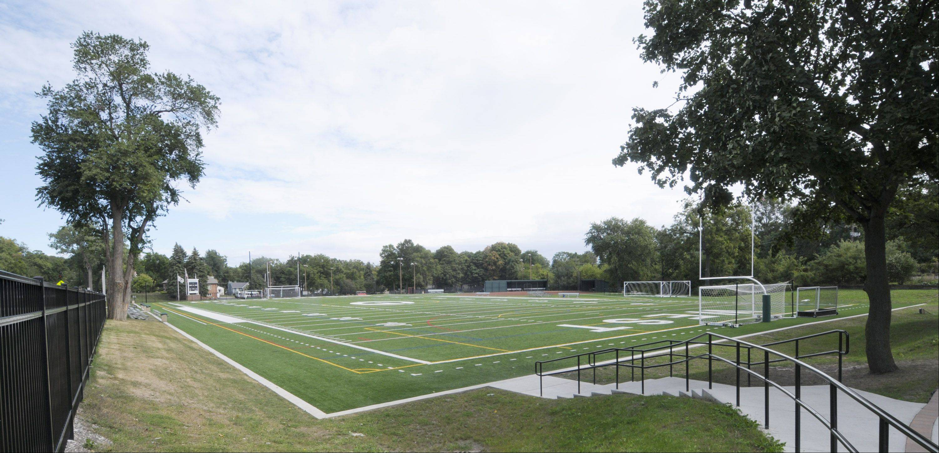 The price to install six light towers at Memorial Field in Glen Ellyn is about $75,000 less than original cost estimates.